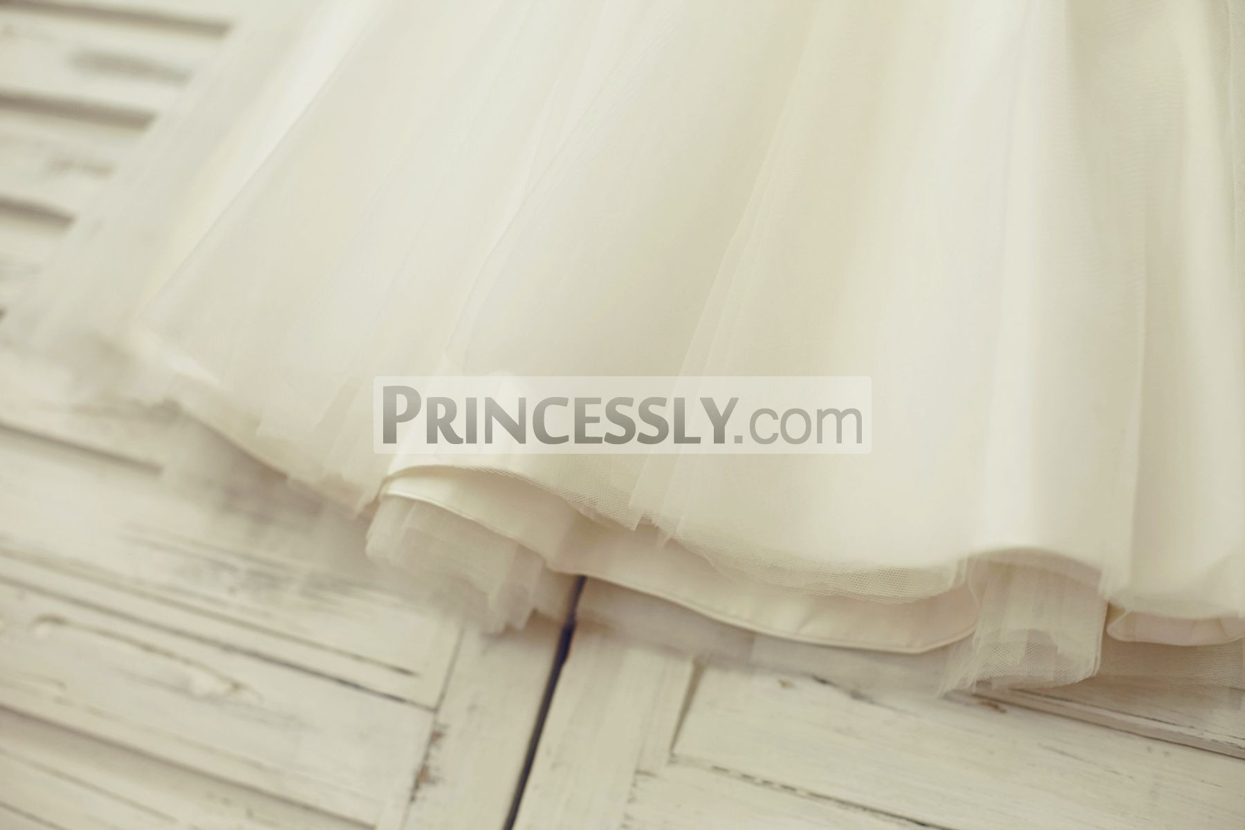 Ivory tulle layered skirt