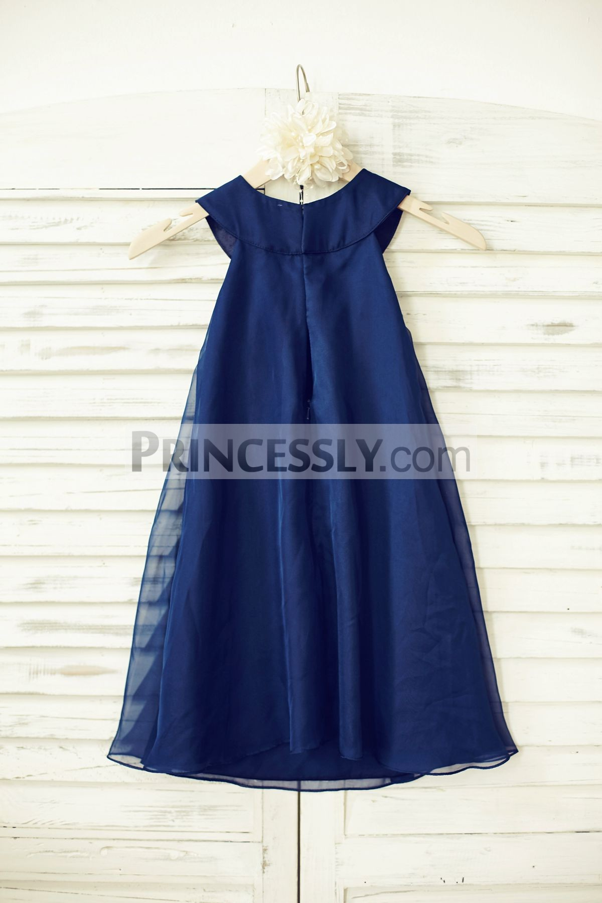 888834978b5c Boho Beach Navy Blue Chiffon Wedding Flower Girl Dress with Pearl ...