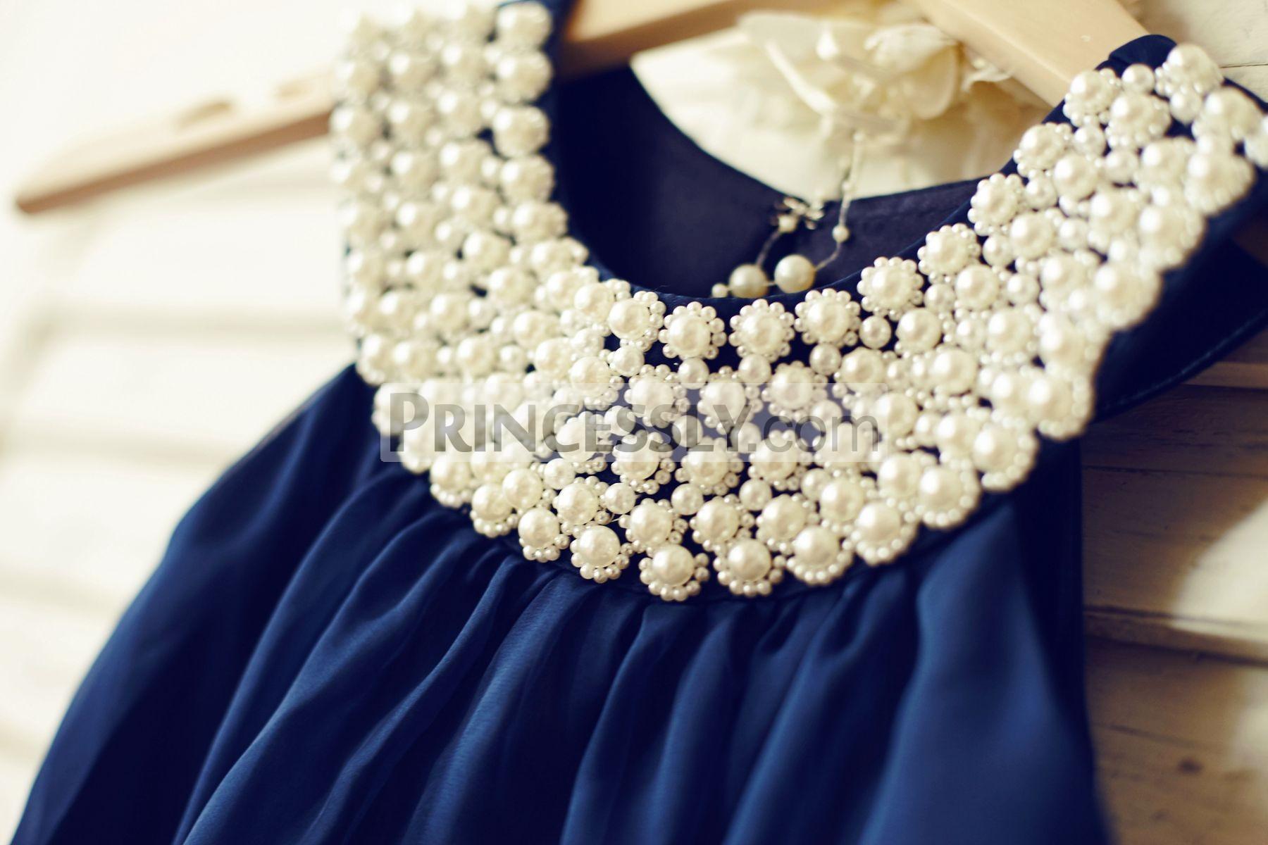 Beaded pearls neck & sleeveless