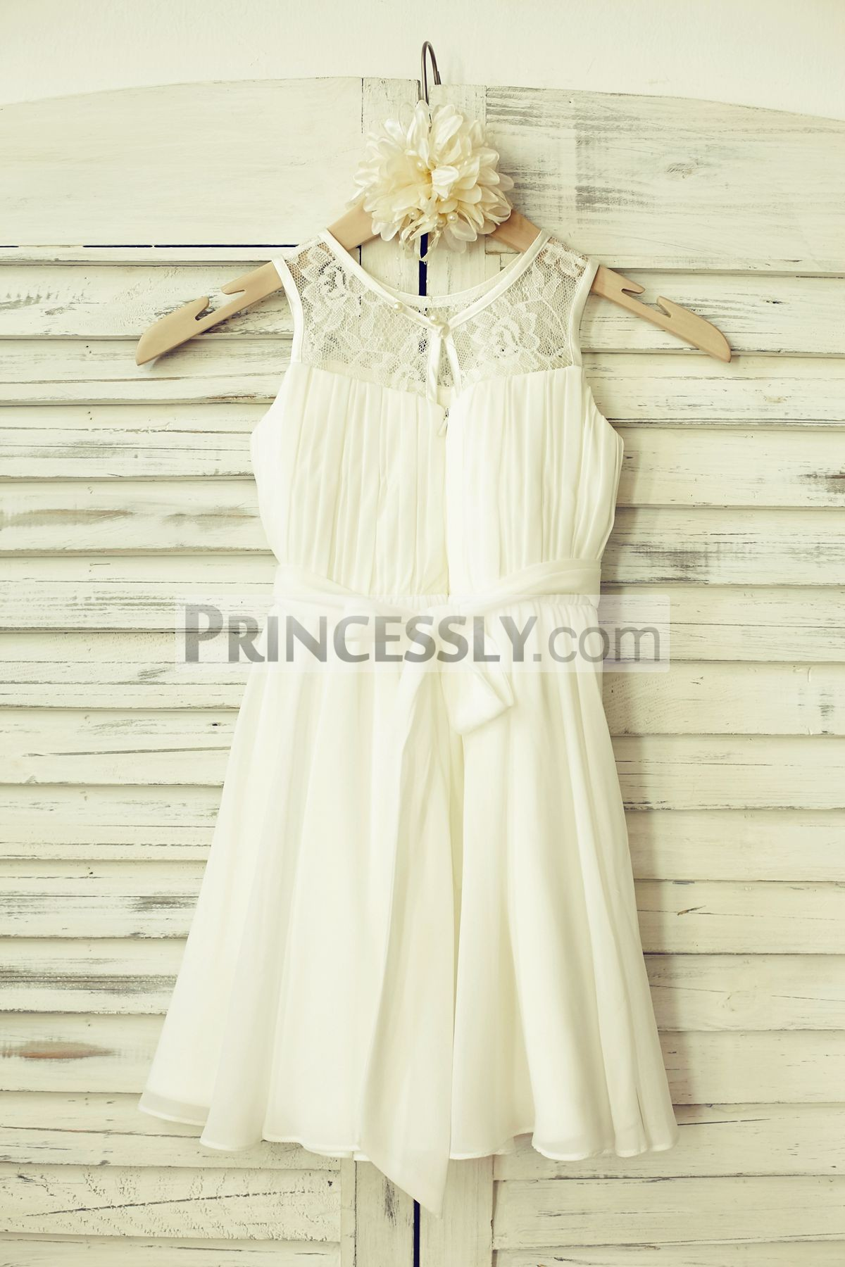 Ivory sheer lace chiffon flower girl dress with sash