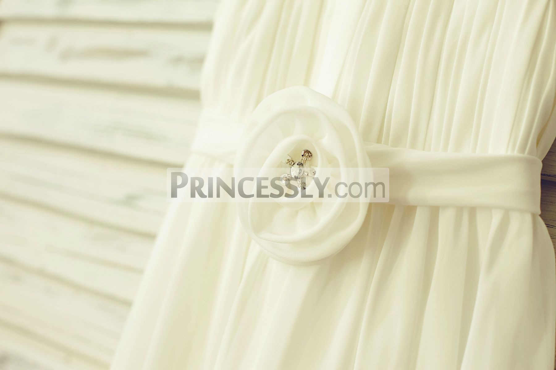 Beaded flower attached chiffon long sash