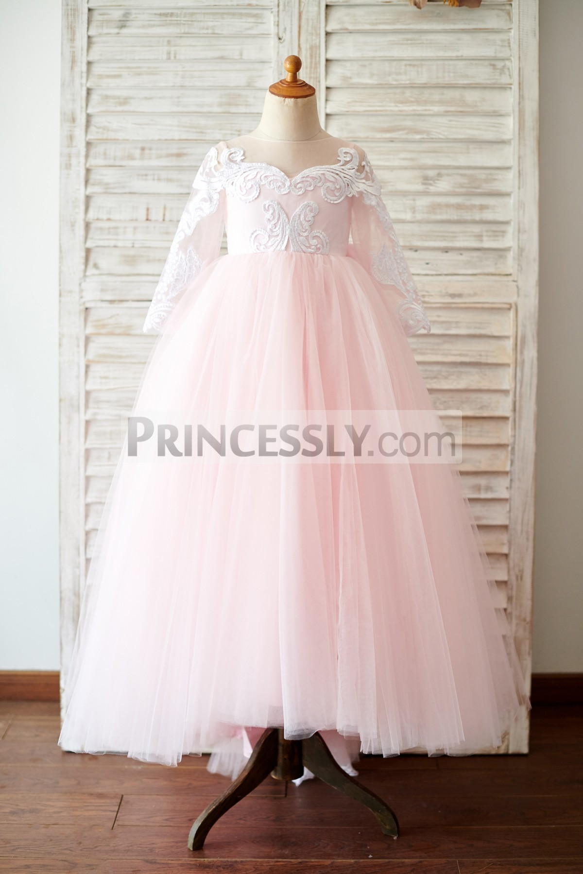 Sheer Long Sleeves Ivory Lace Pink Tulle Wedding Baby Girl Dress