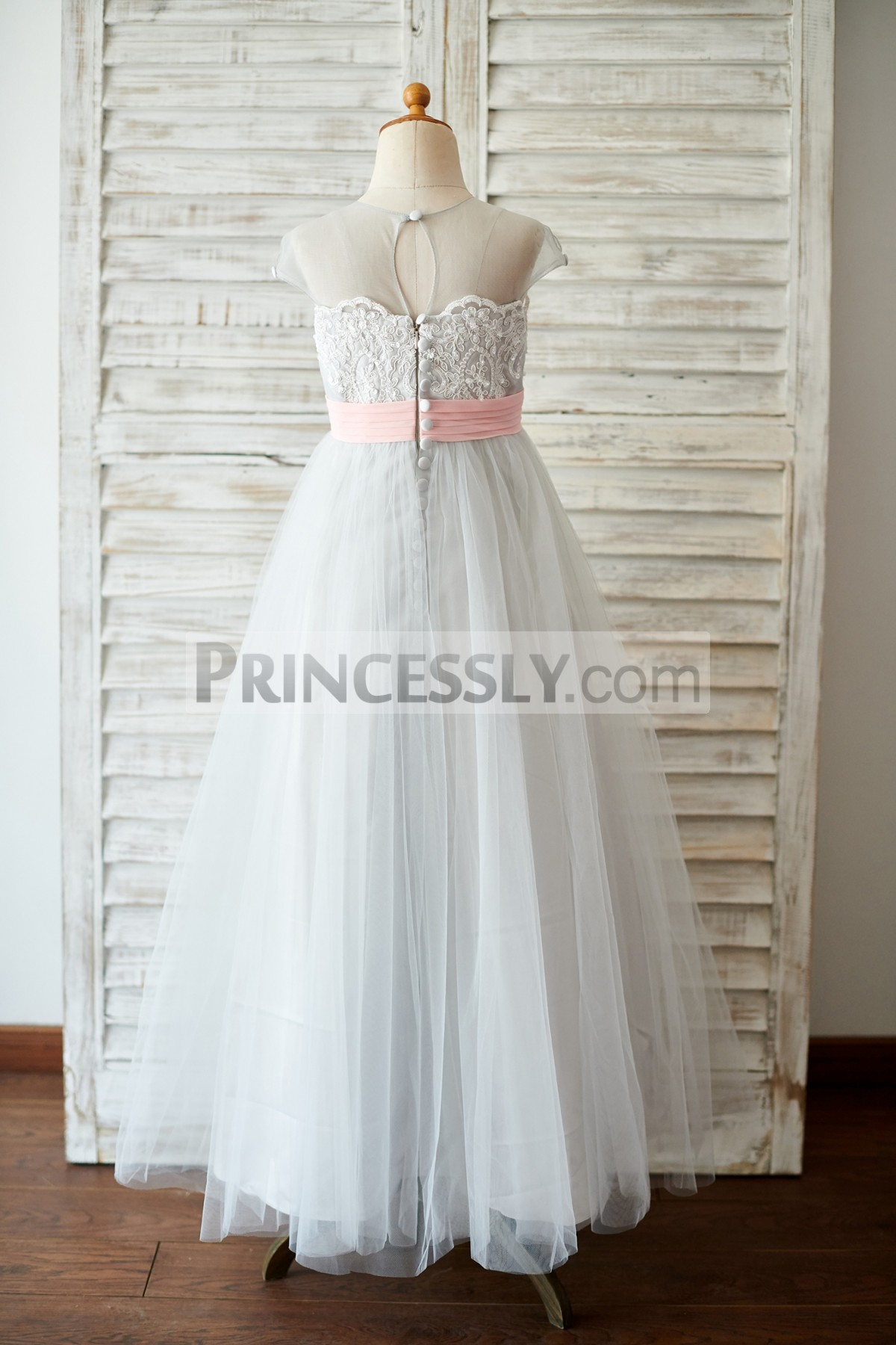Sheer Grey Tulle Long Ball Gown