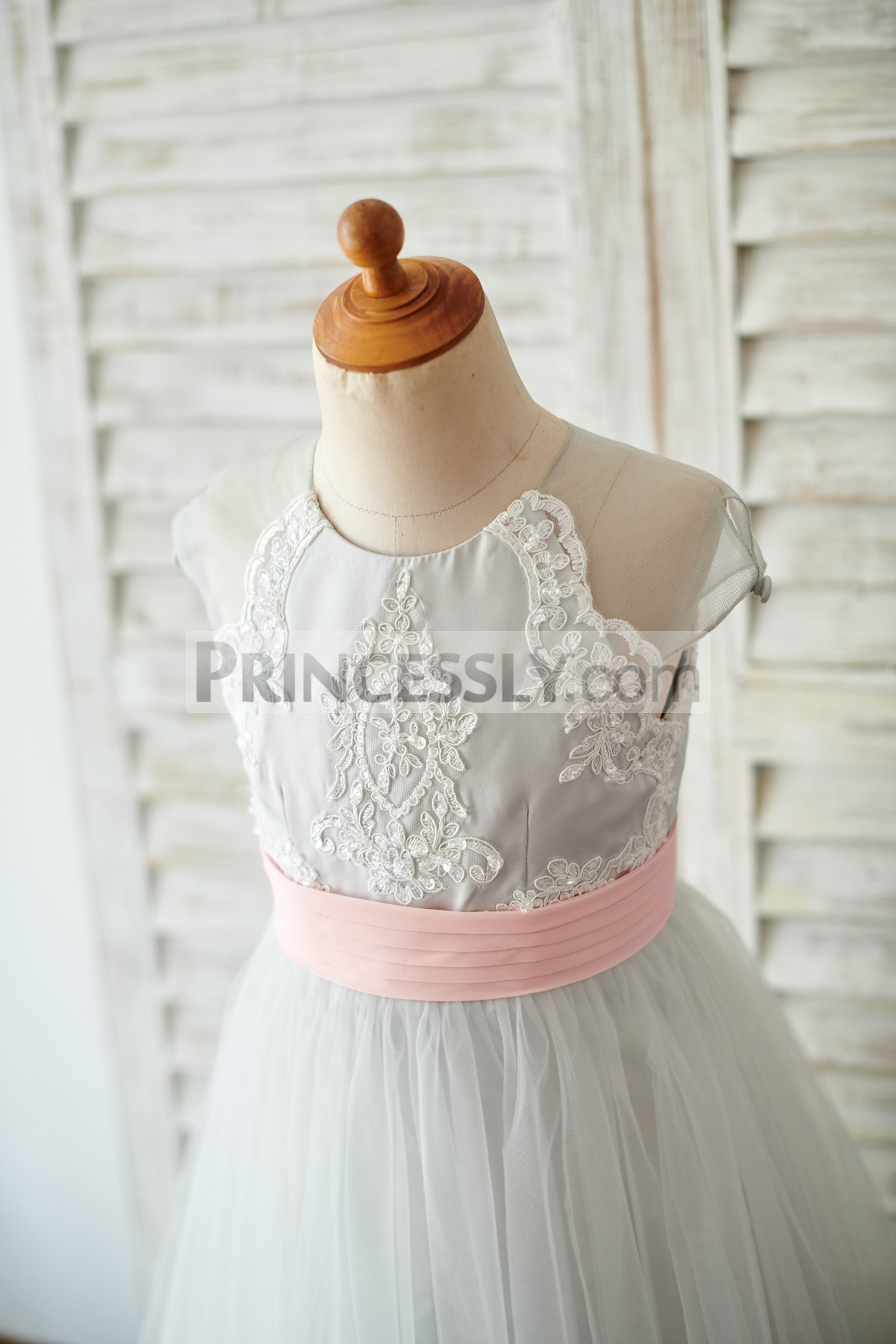Jewel Neck Cap Sleeves Lace Bodice w/ Fixed Pink Belt