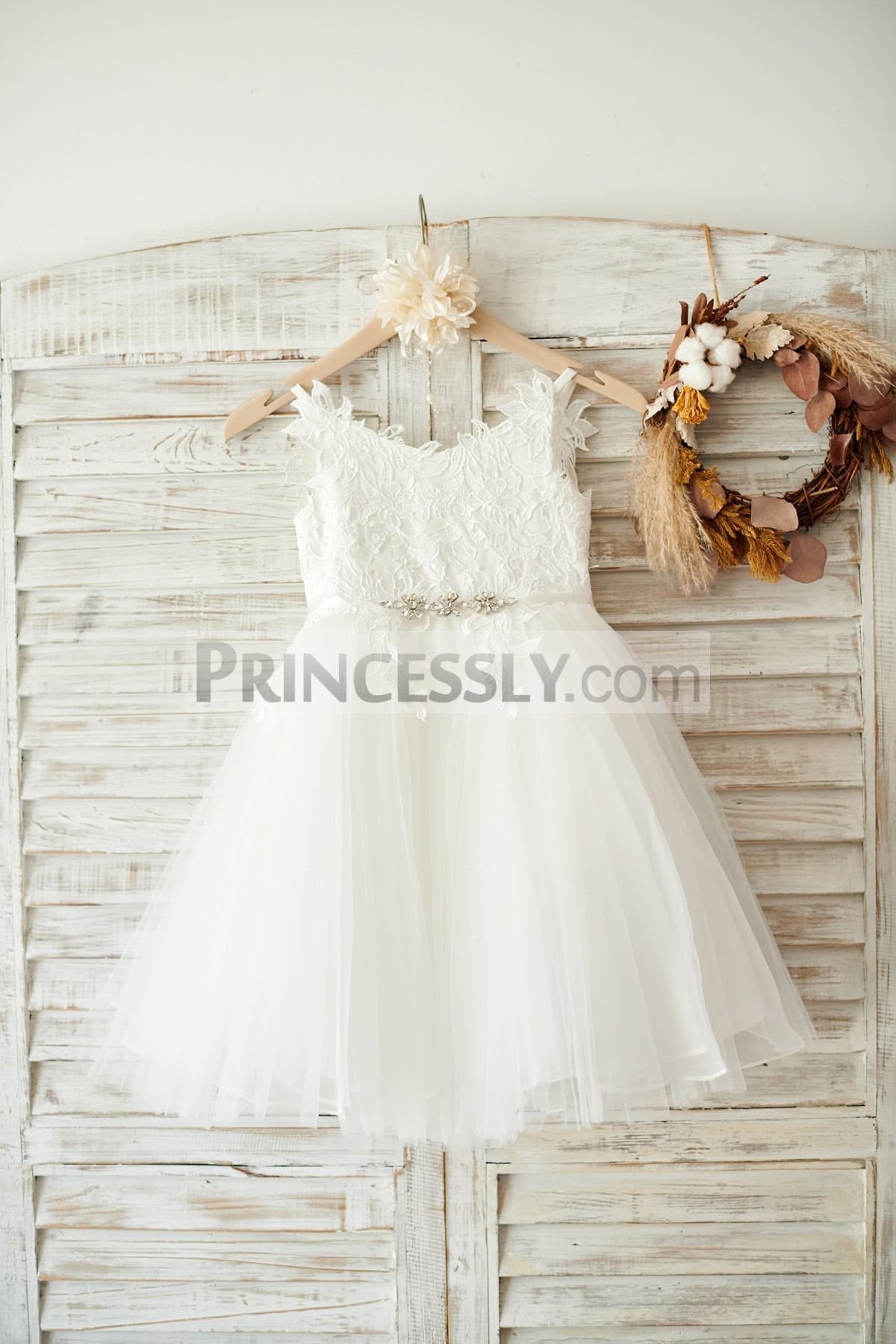 Lace Appliques Ivory Tulle Flower Girl Dress