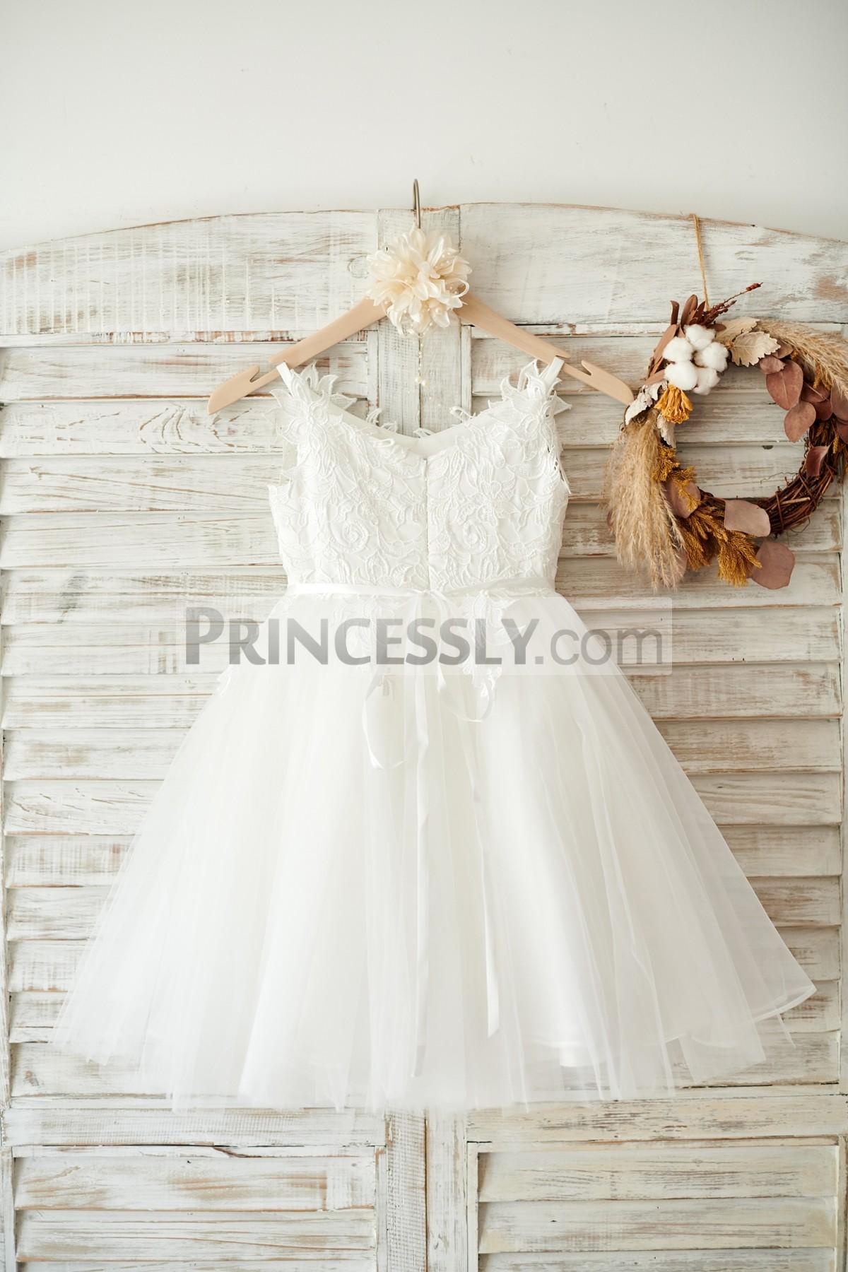 V neck Pleated Tulle Fully Lined Wedding Little Girl Dress