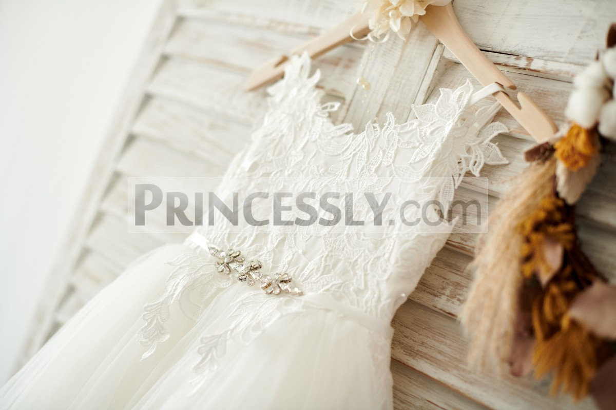 Ivory Lace Appliqued Bodice Belted by Satin Sash w/ Crystals