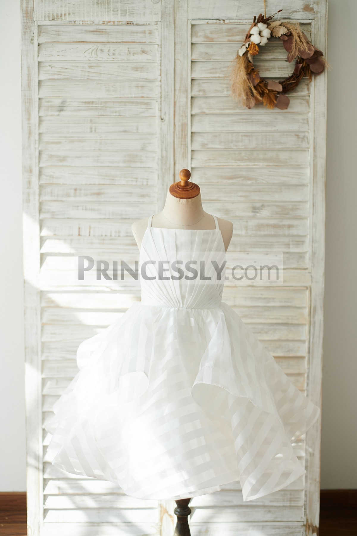 White Ivory Striped Organza Wedding Flower Girl Dress