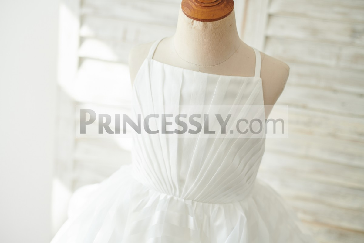 Straight Neckline Pleated Bodice