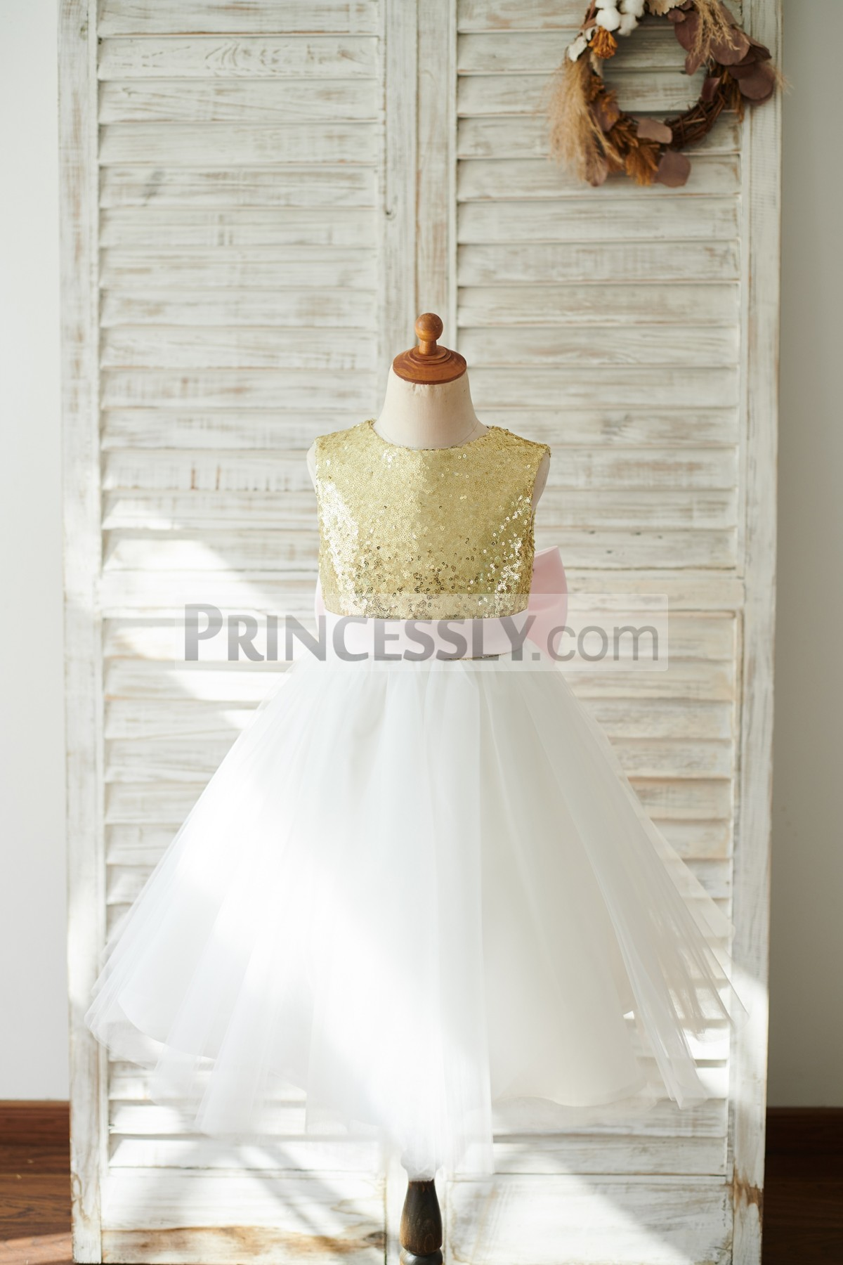 Gold Sequins Ivory Tulle Wedding Little Girl Dresses