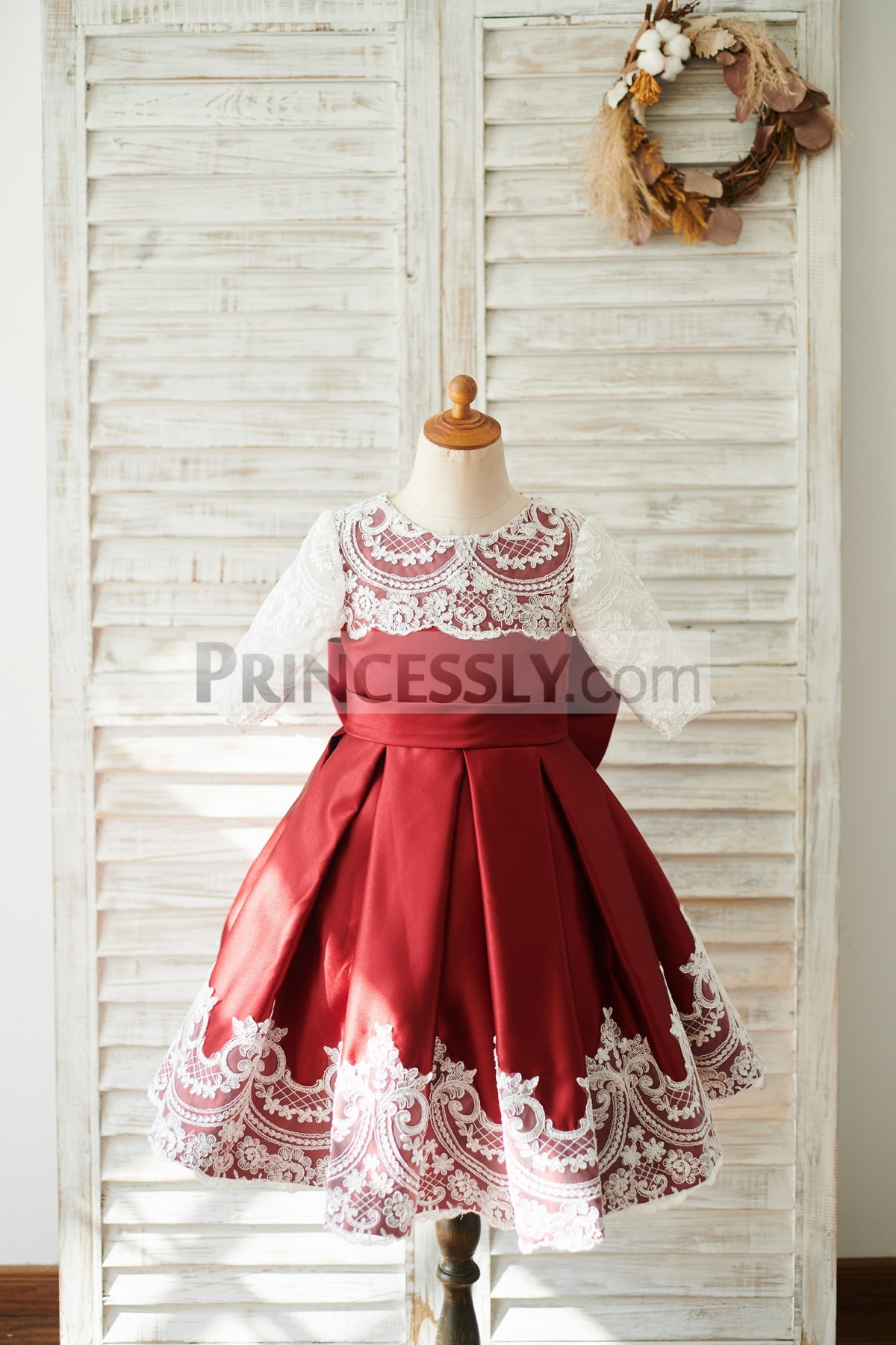 Ivory Lace Burgundy Satin Box-pleated Ball Gown Flower Girl Dress