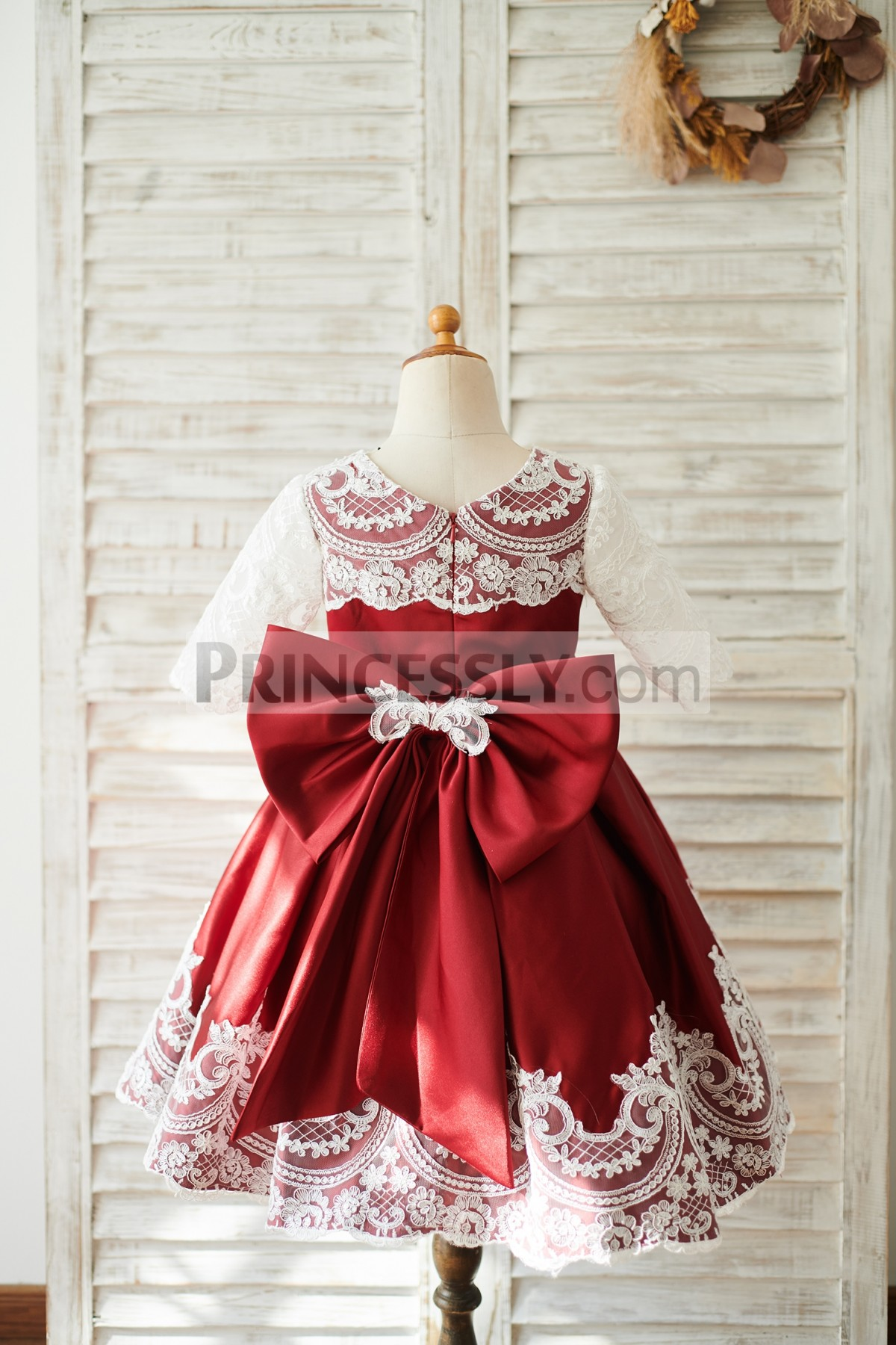 Lace Half Covered Bodice Satin Wedding Baby Girl Dress