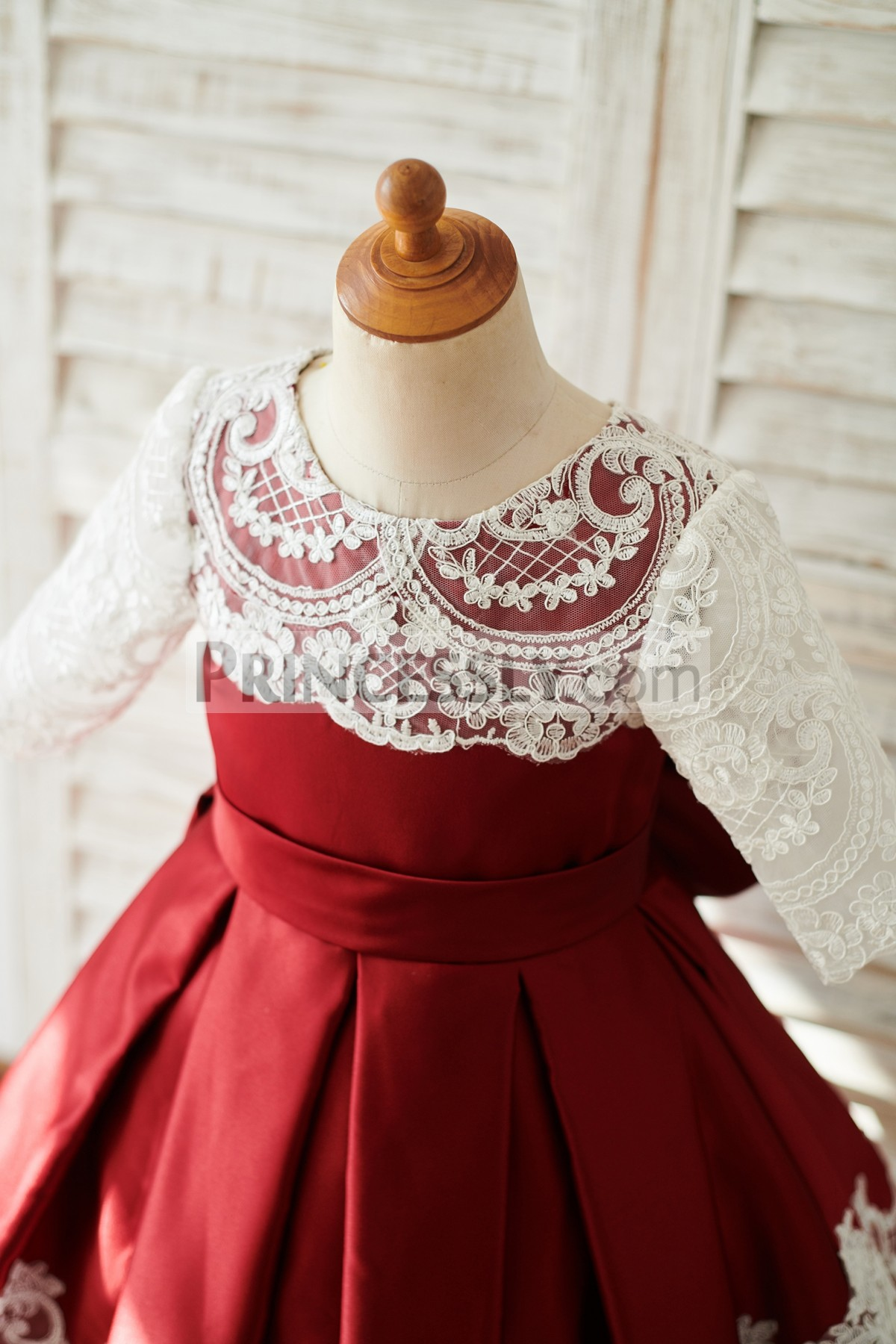 Sheer 3/4 Sleeves Belted Satin Fitted Bodice