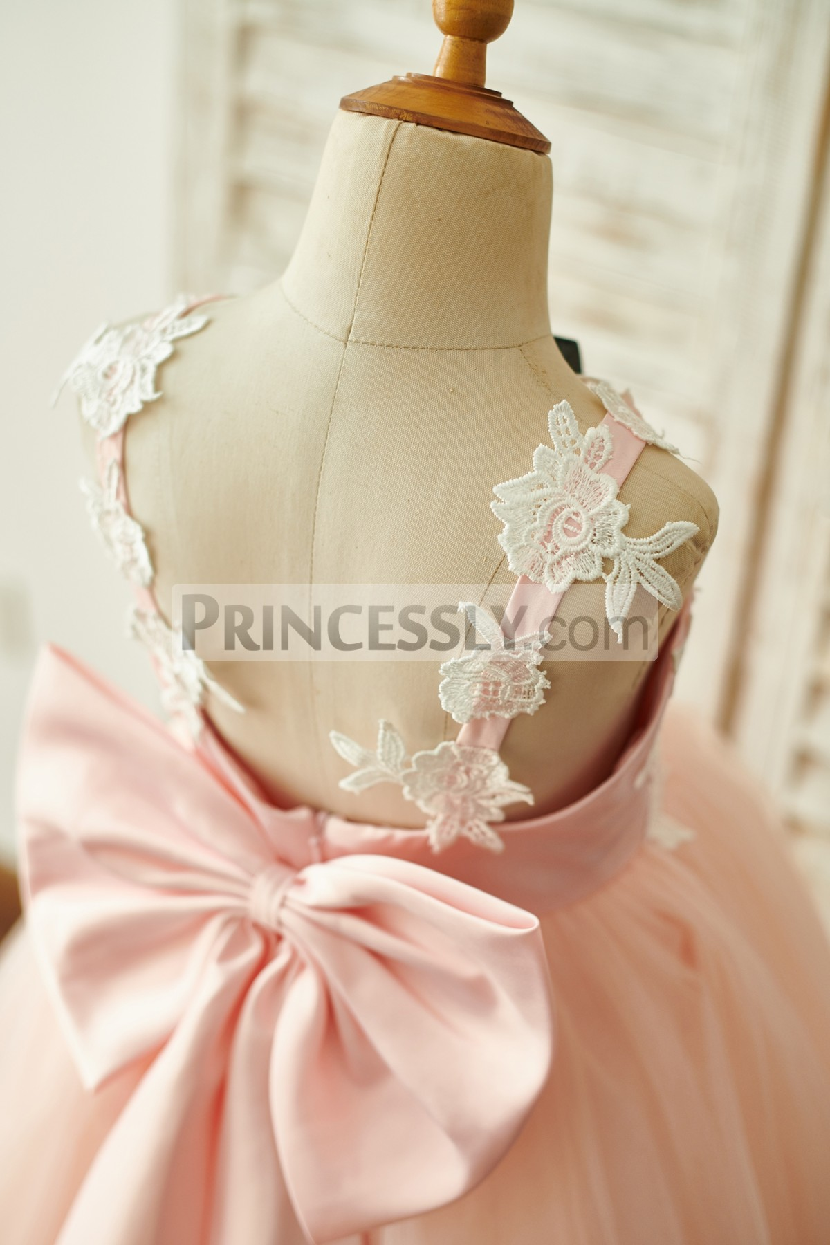 Backless Design with Appliques, Bow