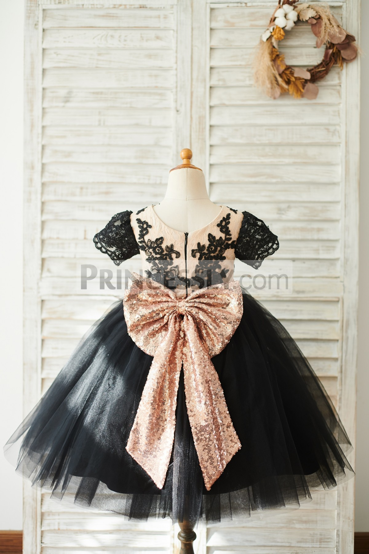 Black Lace Tulle Wedding Baby Girl Dress