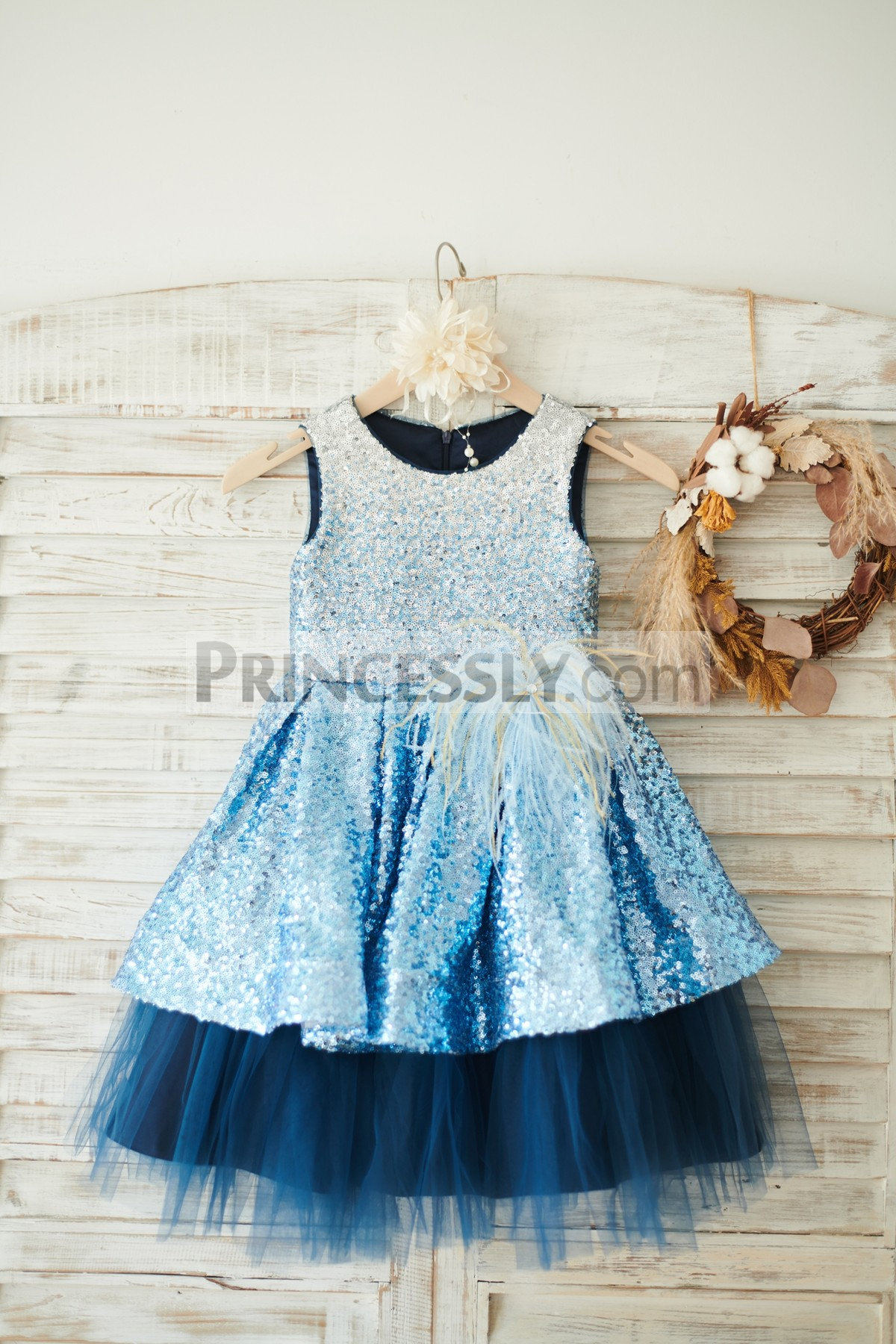 0a72896ce2 Shine Ombre Sequin Overlay Navy Blue Tulle Satin Party Flowergirl ...