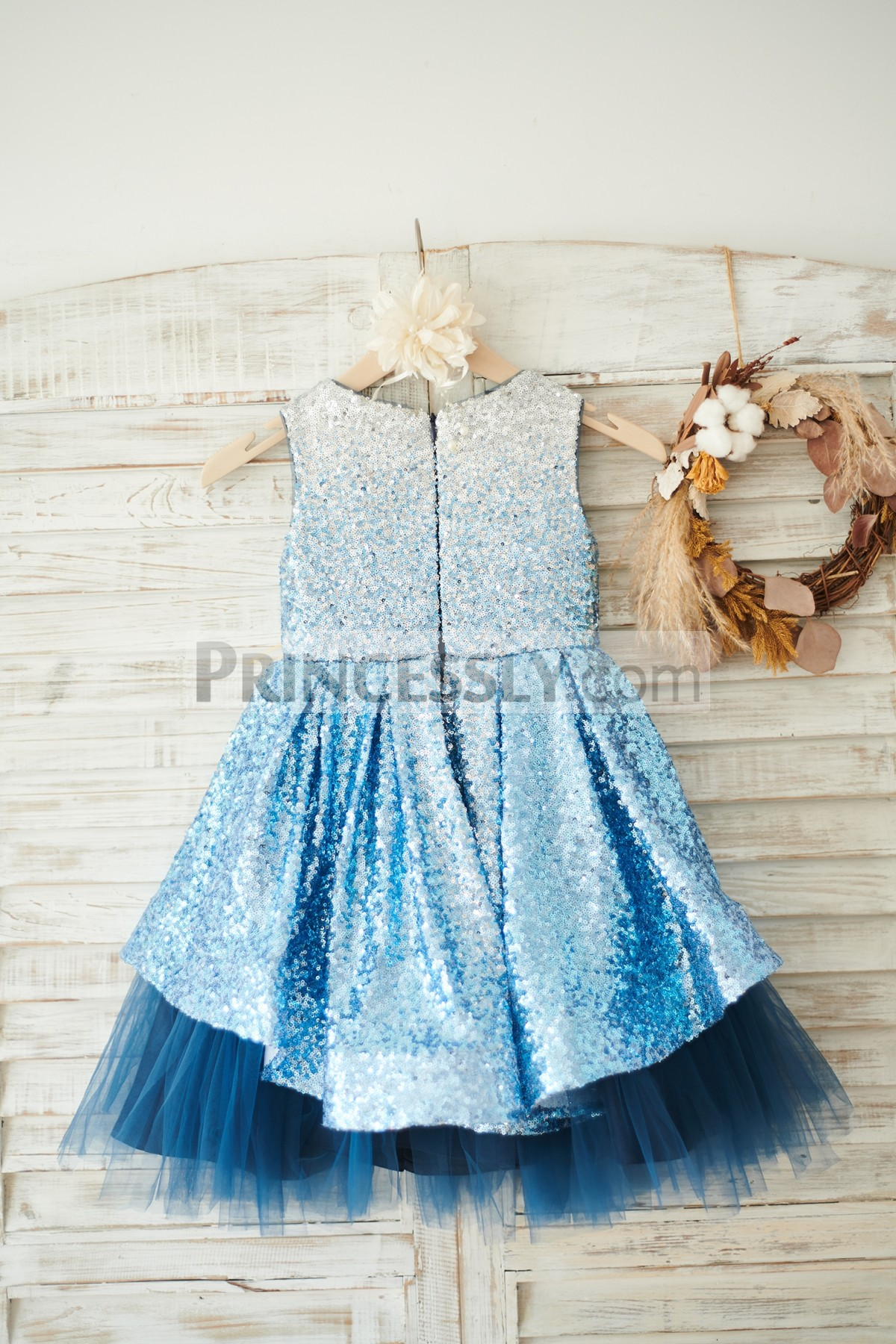Silver/Blue Sequins Satin Tulle Wedding Little Girl Dress