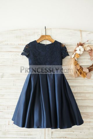 Princessly.com-K1003841-Navy-Blue-Lace-Satin-Short-Sleeves-Keyhole-Back-Wedding-Flower-Girl-Dress-31