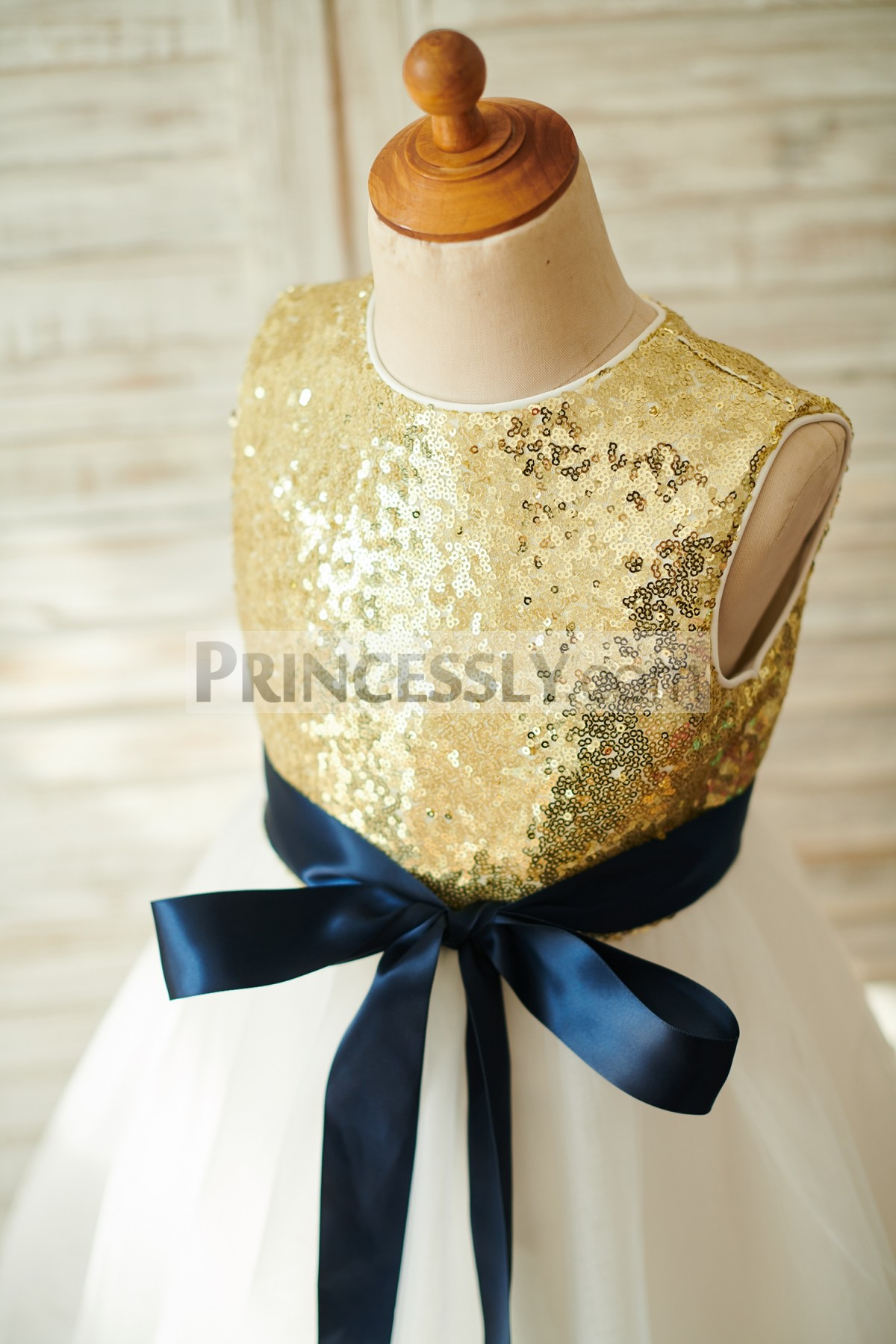 Navy Blue Sash Golden Sequins Bodice