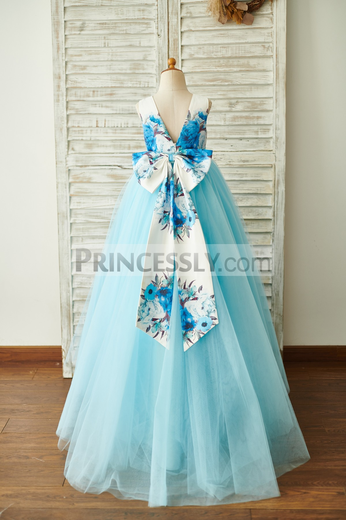 V Back Printed Satin Bow Wedding Flowergirl Gown