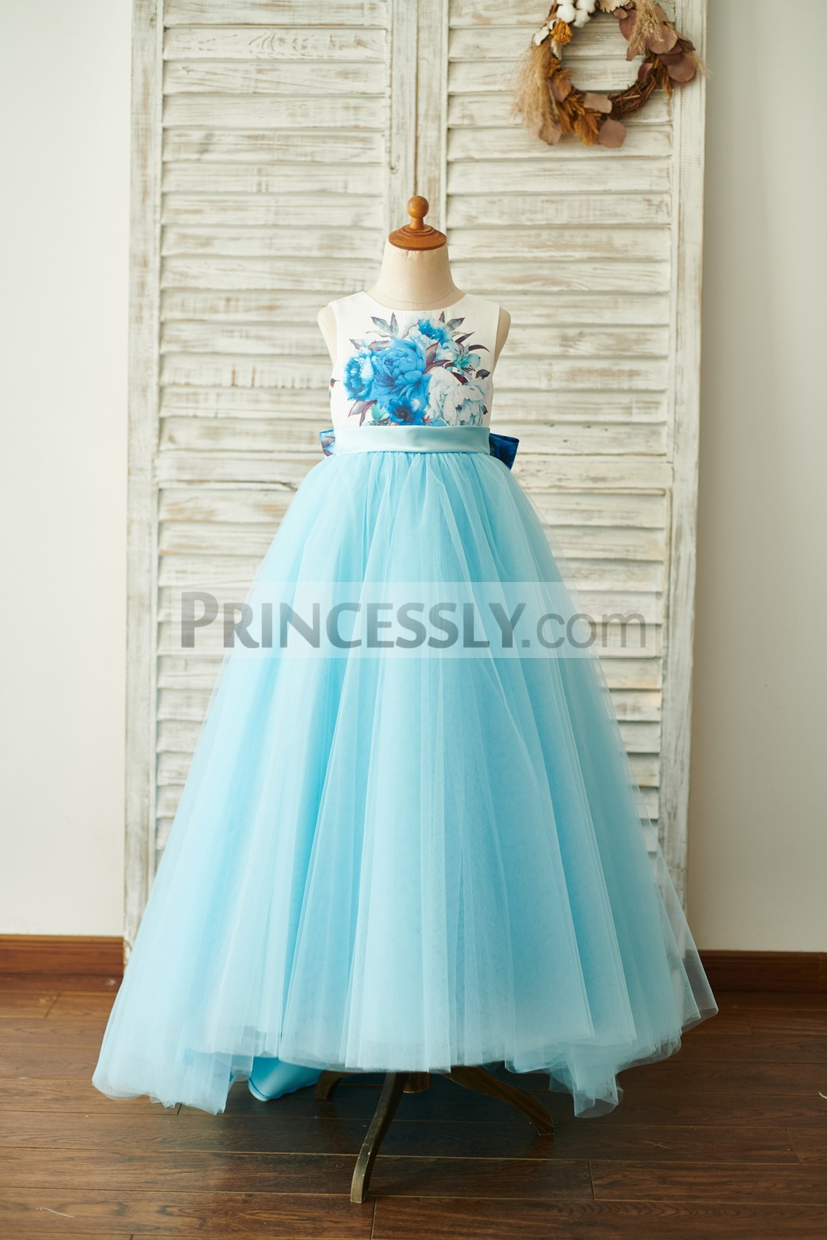 Floral Printed Satin Blue Tulle Ball Gown Dress