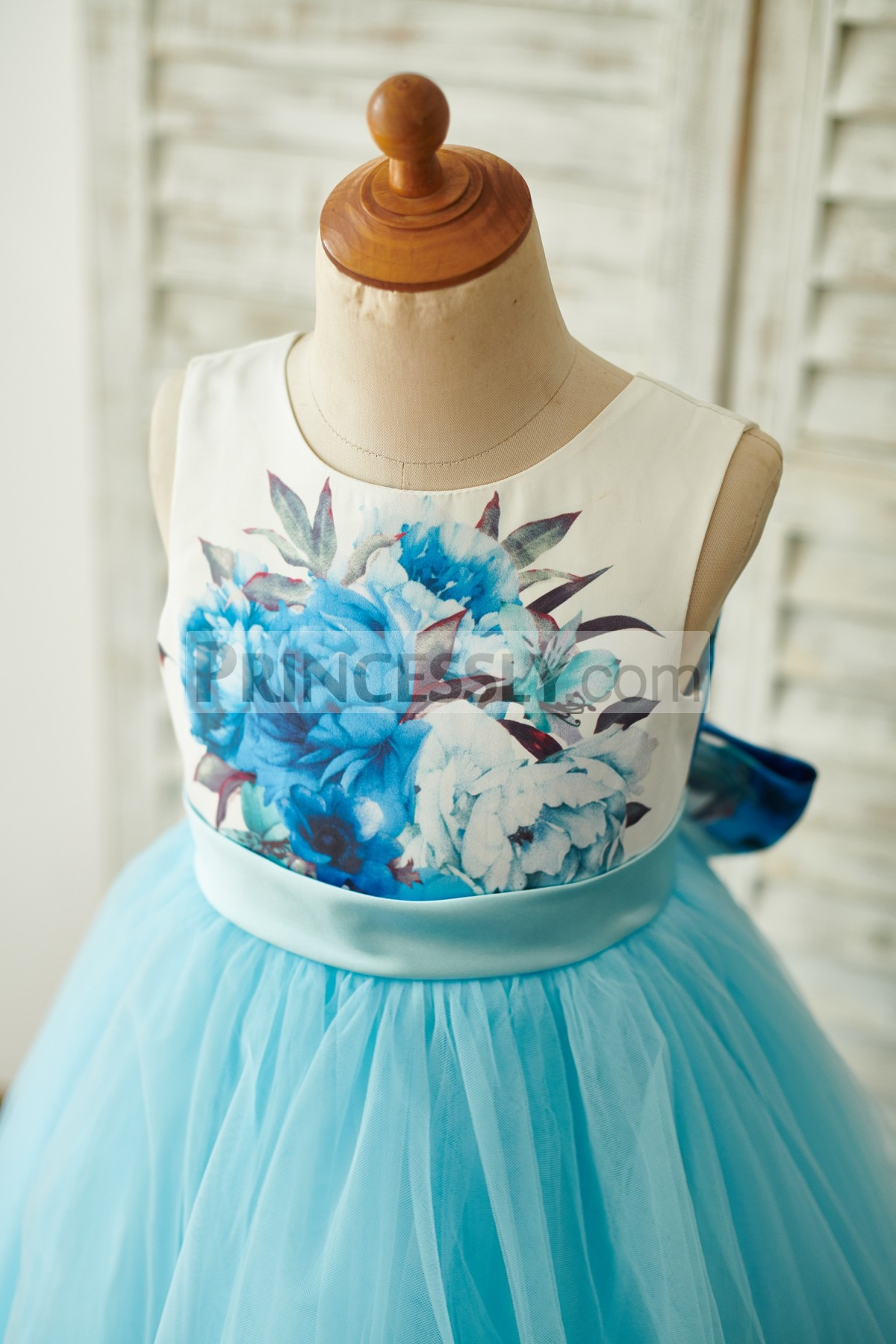 Floral Printed Satin Bodice with Fixed Belt