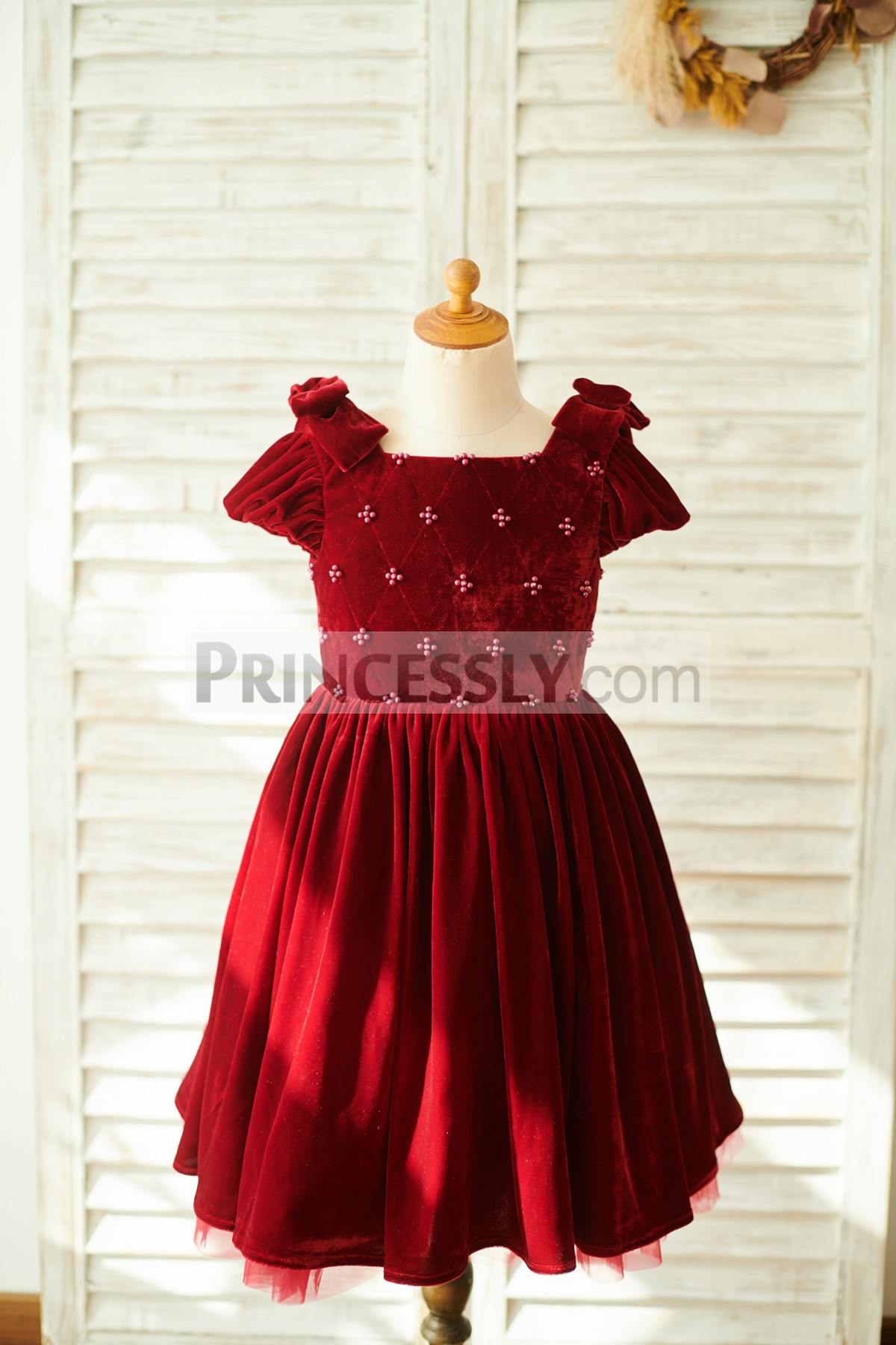 dcca0d442f1 Cap Sleeve Open Corset Back Burgundy Velvet Wedding Flowergirl Dress ...