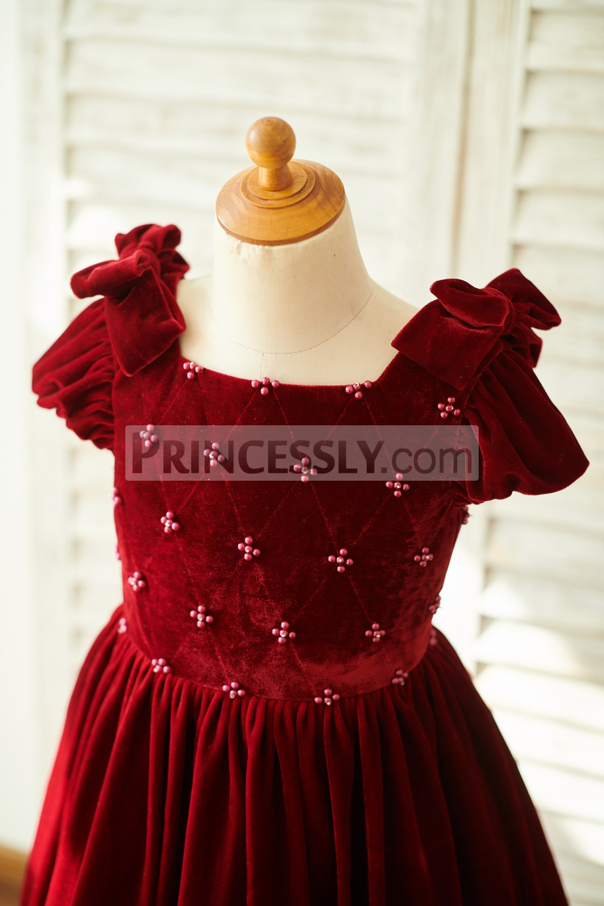 Beaded Bodice with Cap Sleeves, Bows, Square Neck