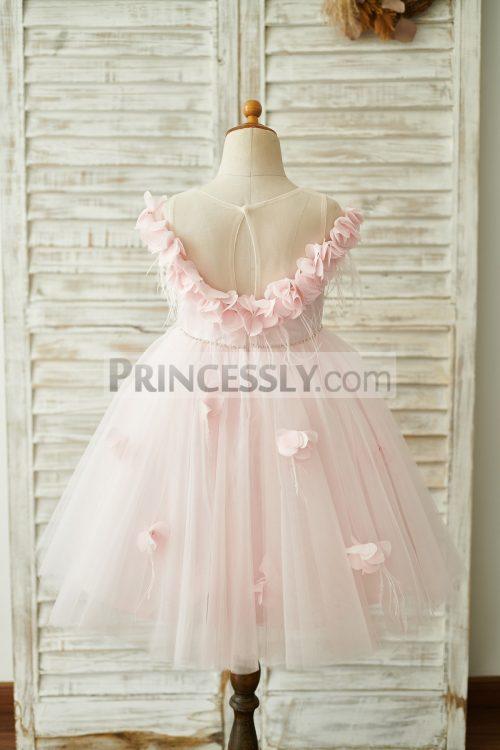 Princessly.com-K1003845-Off-Shoulder-Pink-Tulle-Feathers-Wedding-Party-Flower-Girl-Dress-31