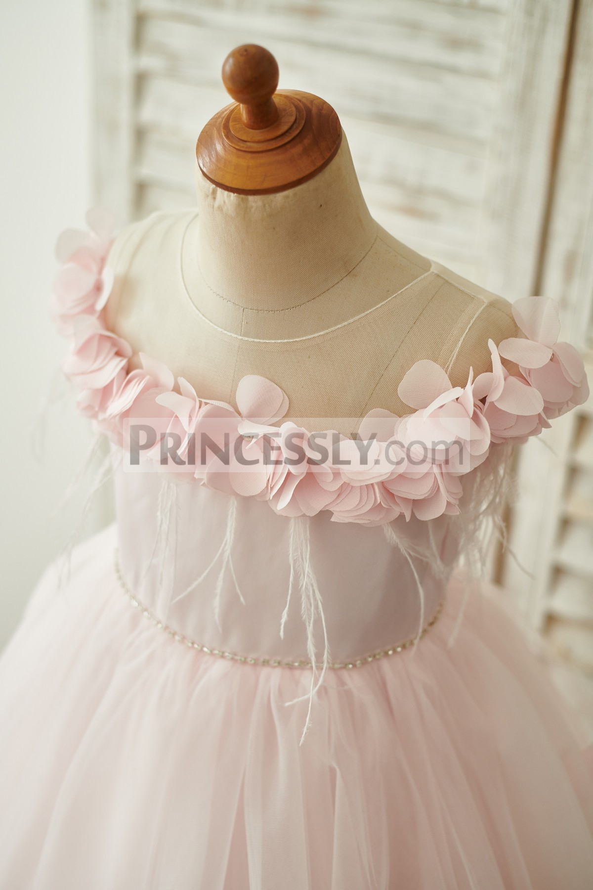 Sheer Neck Off Shoulder Bodice with Beading Waist