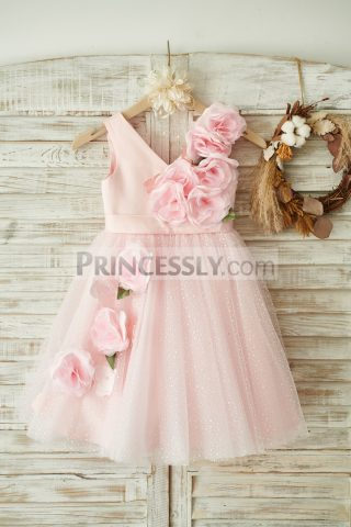 Princessly.com-K1003847-V-Neck-Pink-Satin-Tulle-Wedding-Party-Flower-Girl-Dress-31