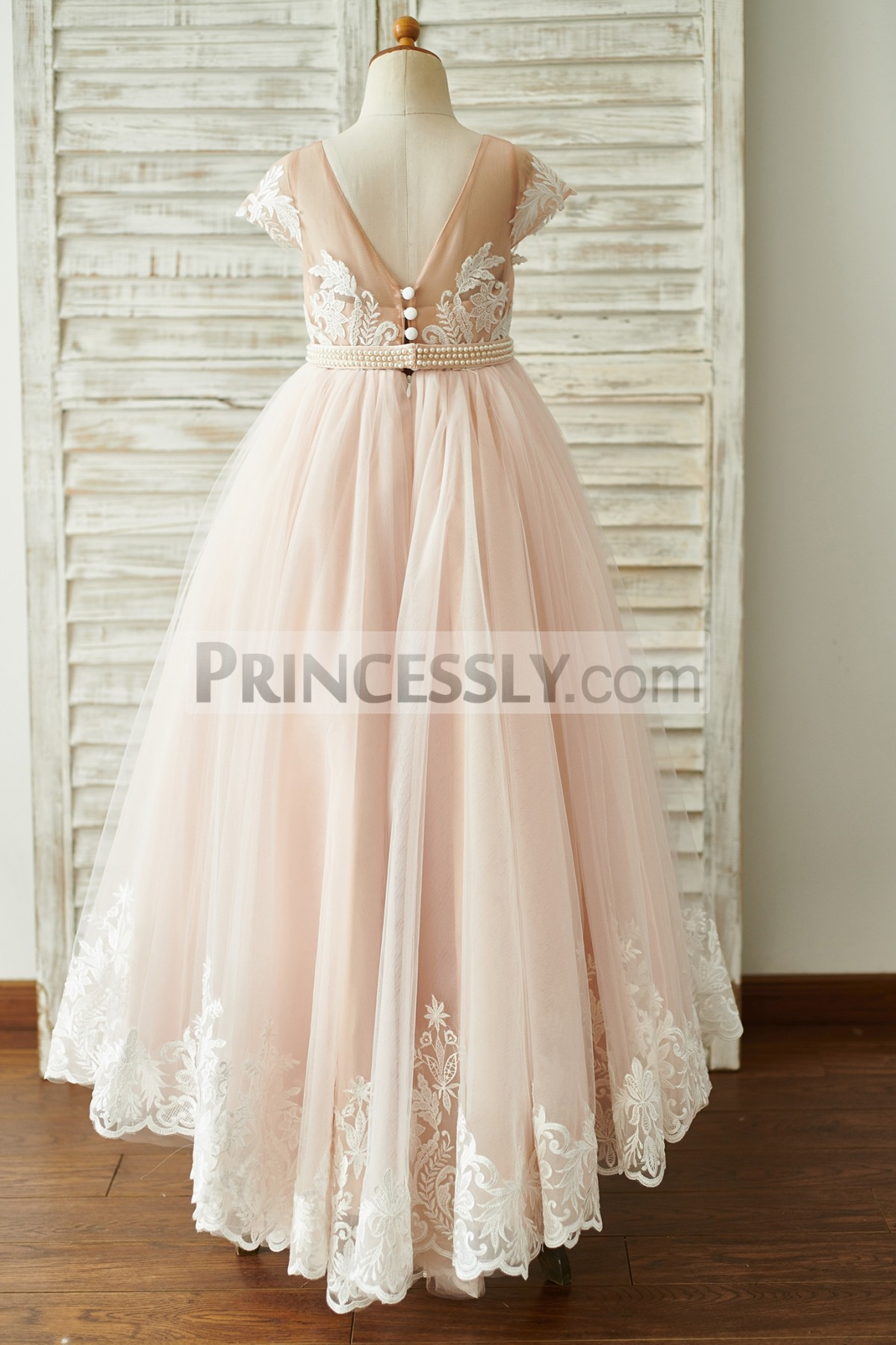 Deep V Back Lace Tulle Floor Length Wedding Baby Girl Dress