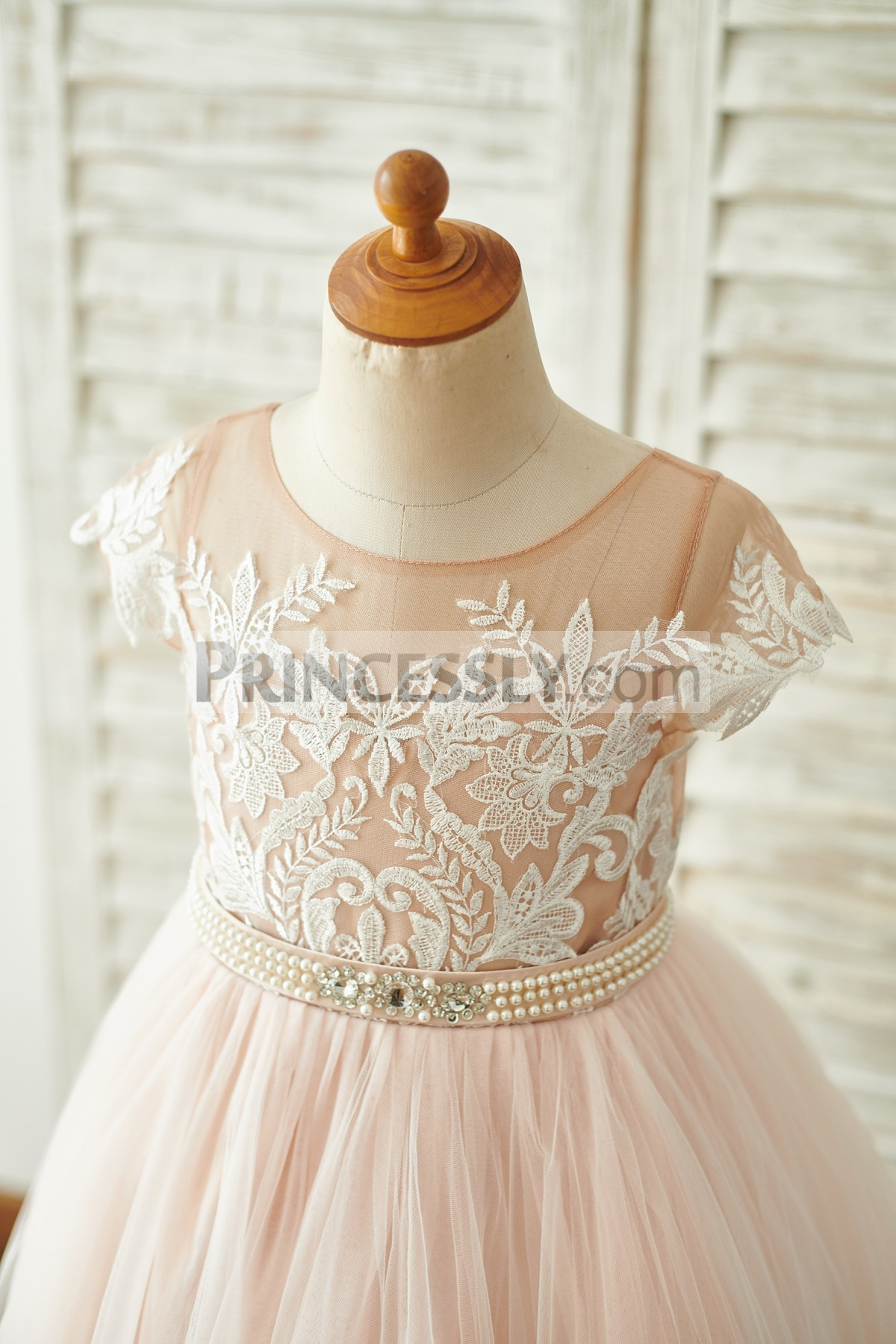 Beaded Fixed Belt Lace Bodice with Inside Sweetheart Neckline