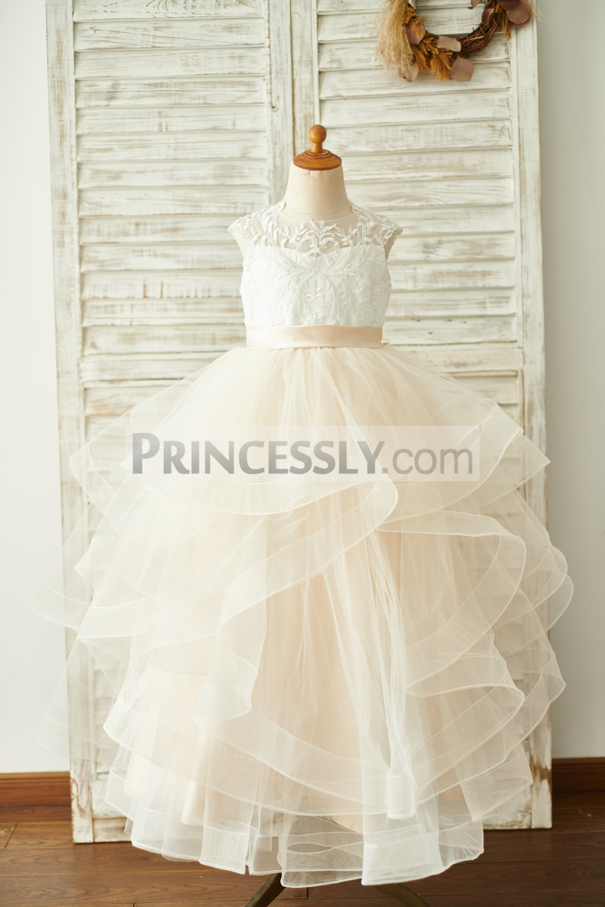 Ivory Lace Champagne Tulle Floor Length Wedding Baby Girl Dress