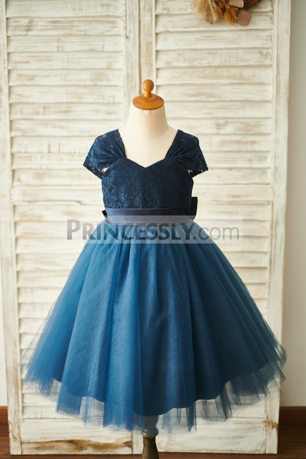 Navy Blue Lace Tulle Wedding Baby Girl Dress