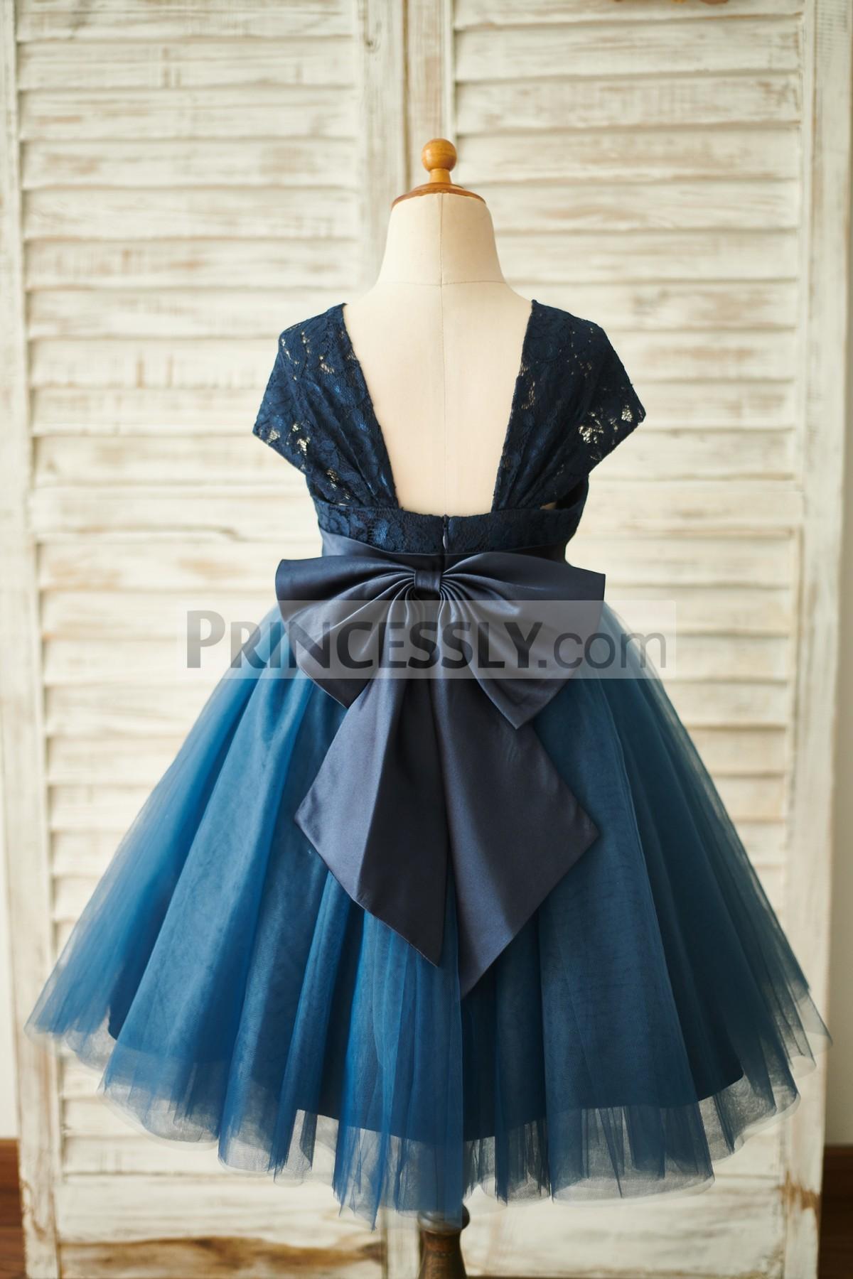 Navy Blue Lace Tulle Flower Girl Dress