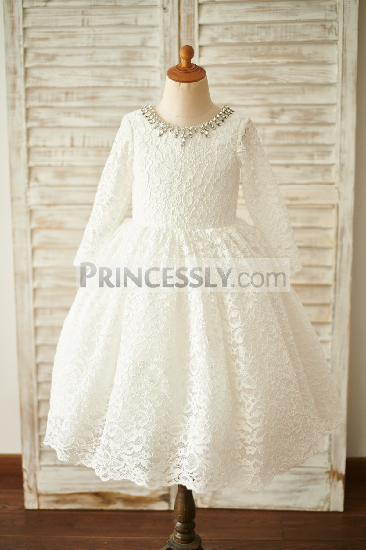 Ivory Floral Lace Wedding Baby Girl Dress