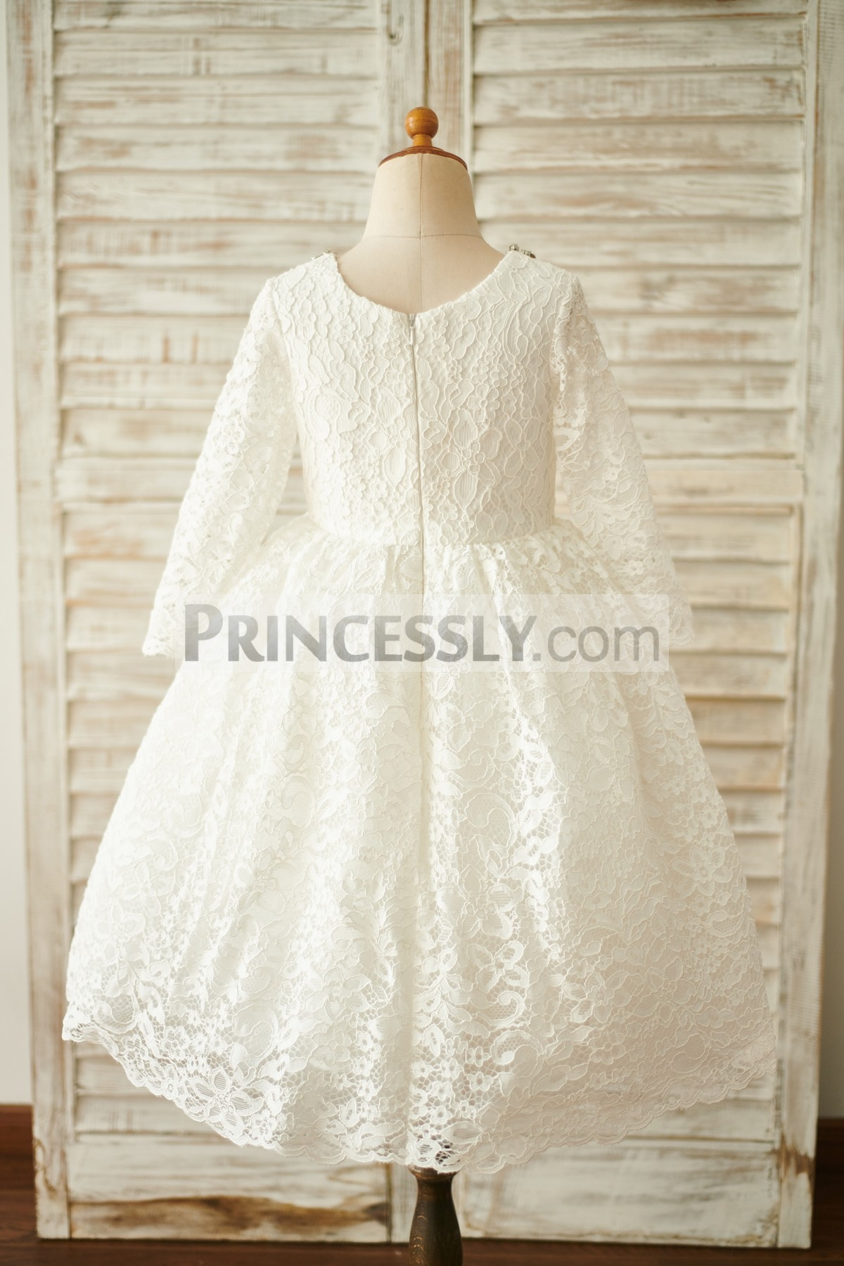 Long Sleeves Scoop Neck Fully Lined Lace Flower Girl Dress