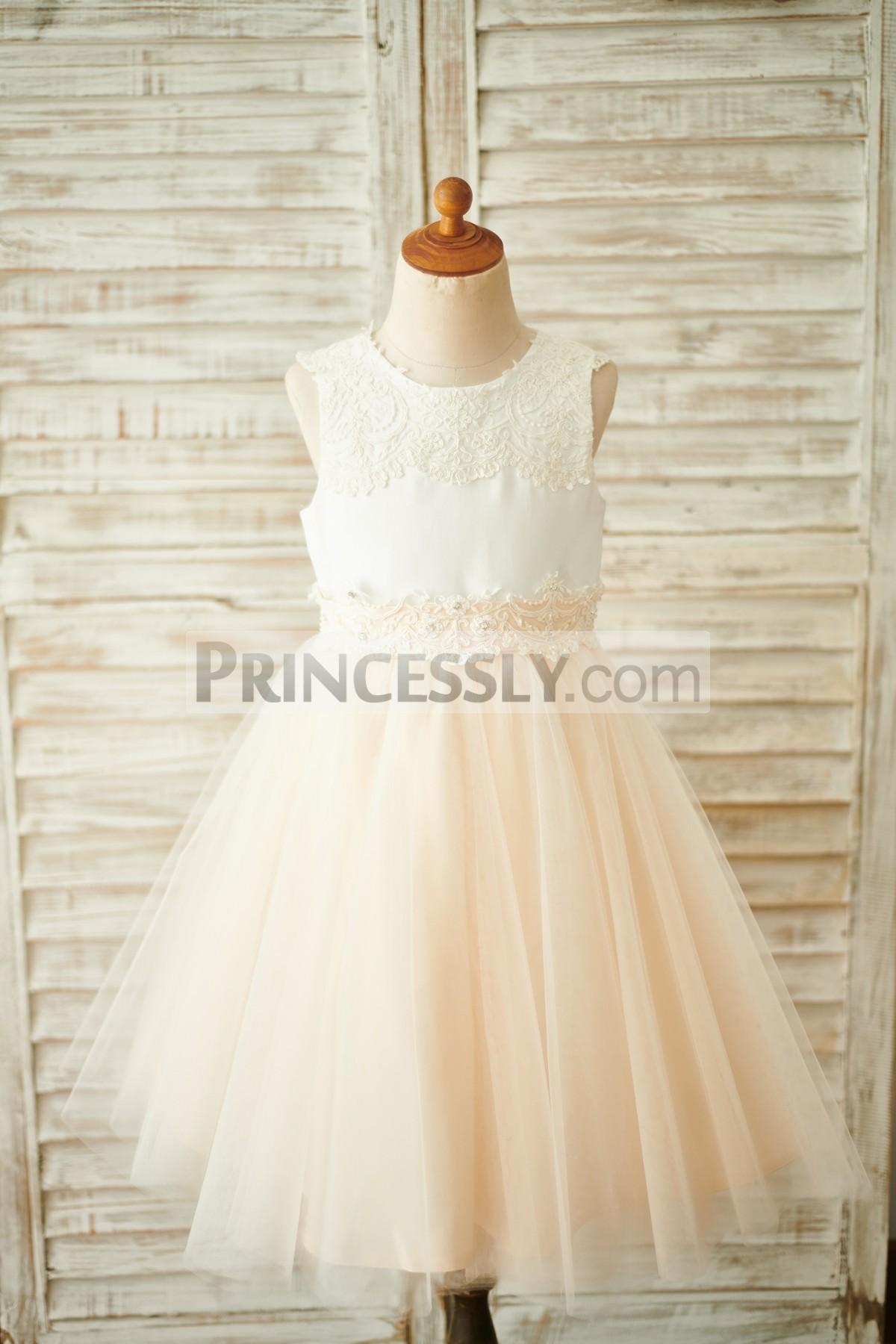 ed8385d400c Ivory Lace Satin Champagne Tulle Sheer Back Wedding Flower Girl ...