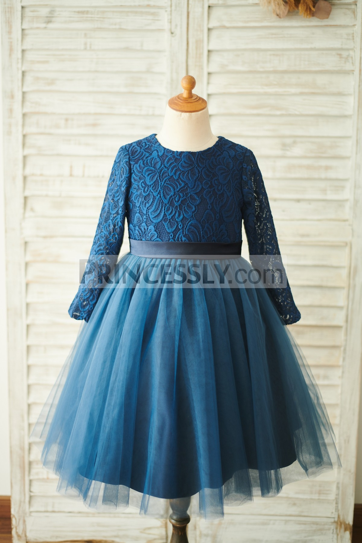 Navy Blue Floral Lace Tulle Flower Girl Dress