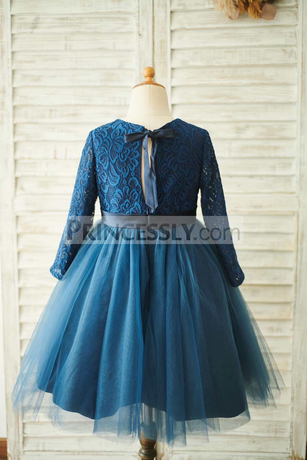 Long Sleeves Lace Tulle Wedding Baby Girl Dress