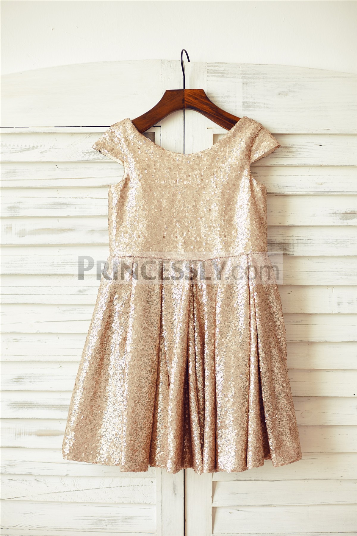 Champagne Gold Sequins Wedding Flower Girl Dress
