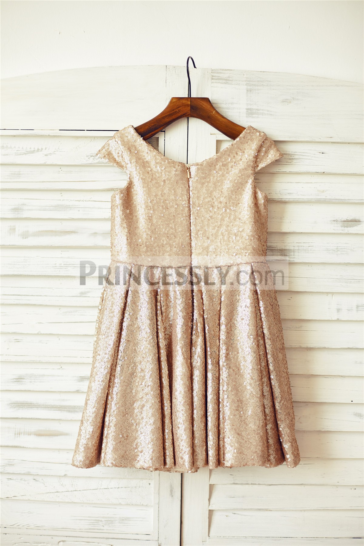 Cap Sleeves Scoop Neck Sequins Baby Girl Party Dress