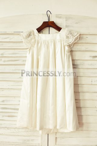 b55a060e109 Sheer Lace Cap Sleeves Square Neck Satin Ivory Wedding Flowergirl Dress