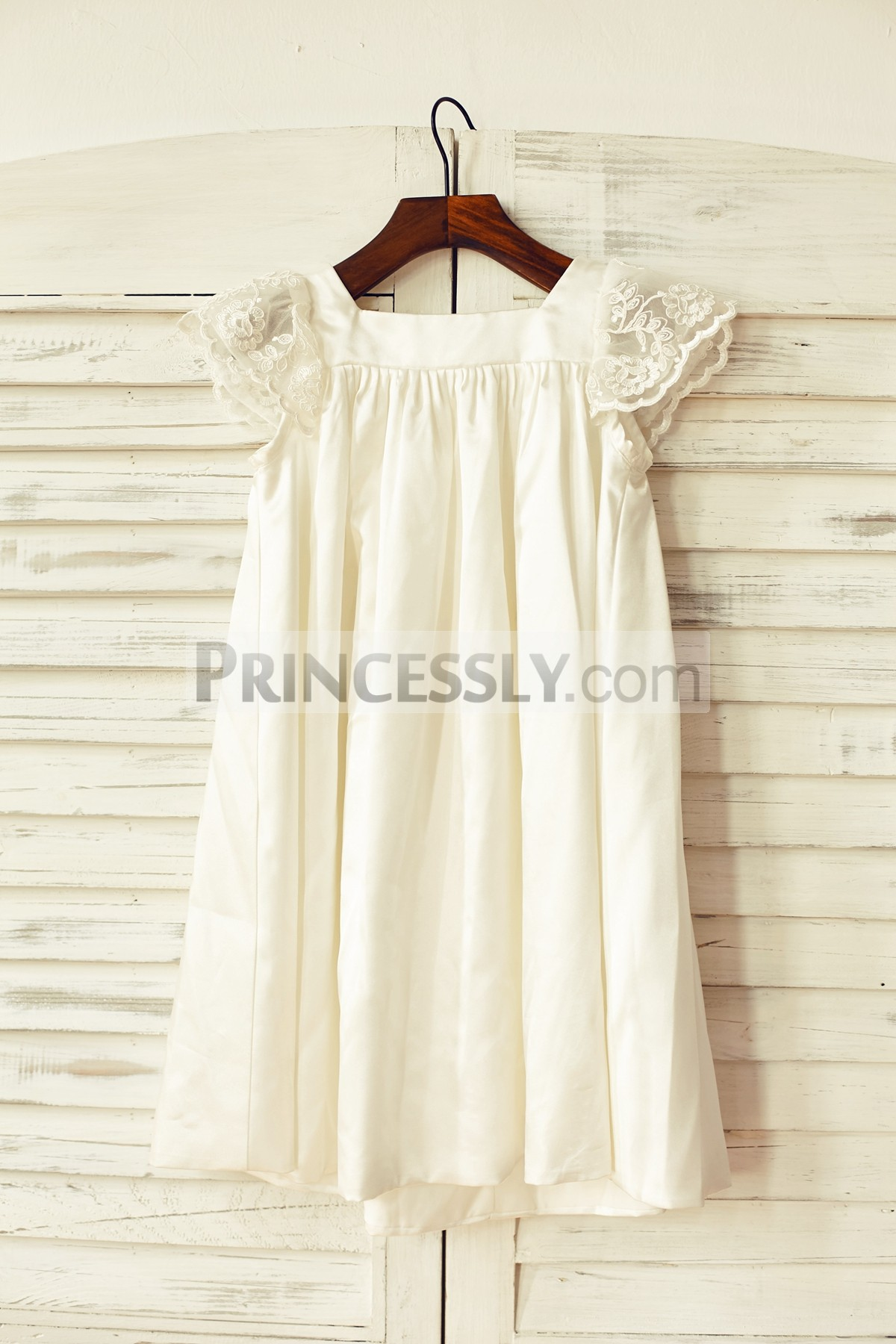 Sheer Lace Cap Sleeves Ivory Satin Wedding Baby Girl Dress