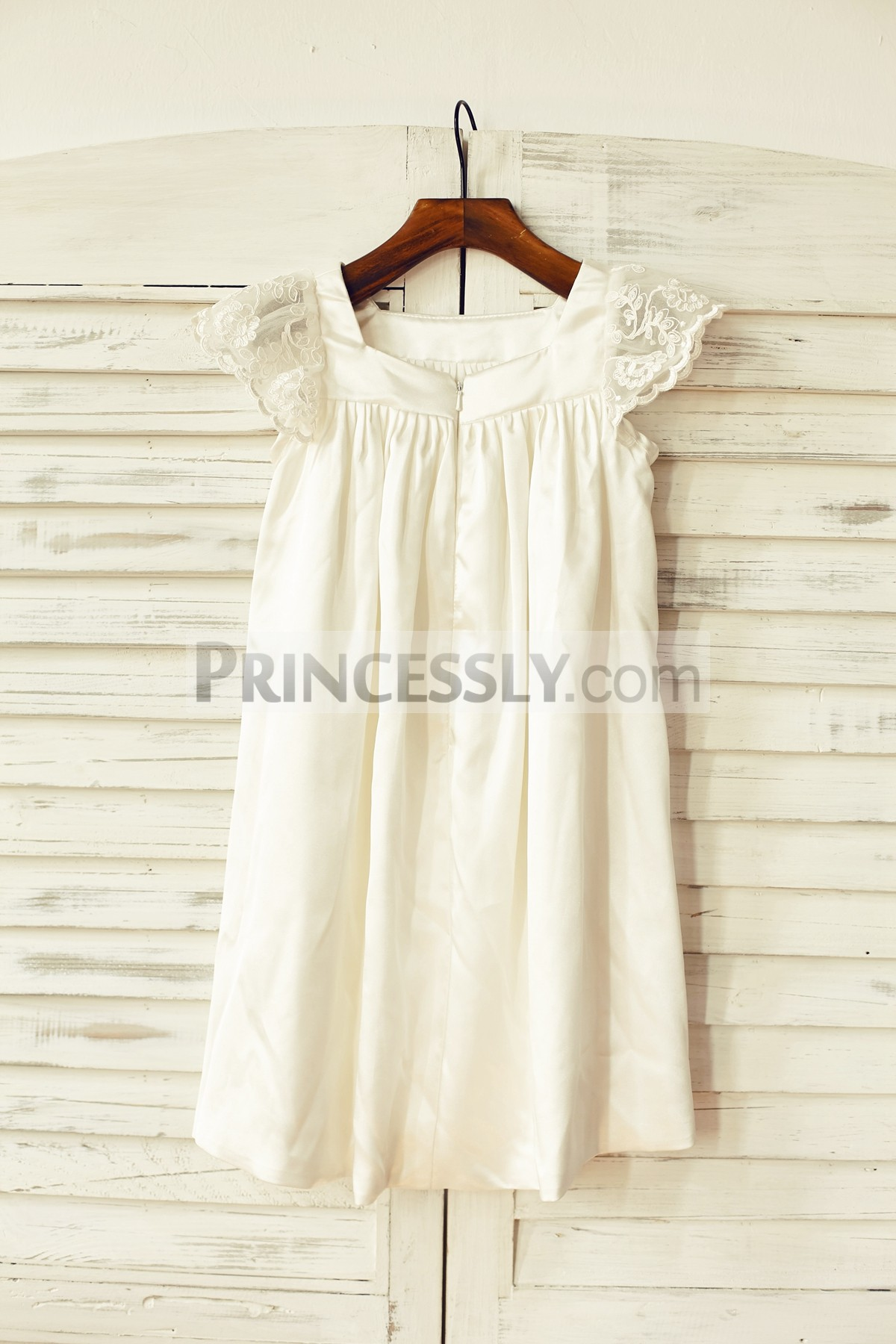 Satin Ivory Flower Girl Dress