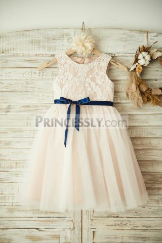 f469e6f80aa Ivory Lace Tulle Overlay Pink Lining Flowergirl Dress for Wedding w  Sash