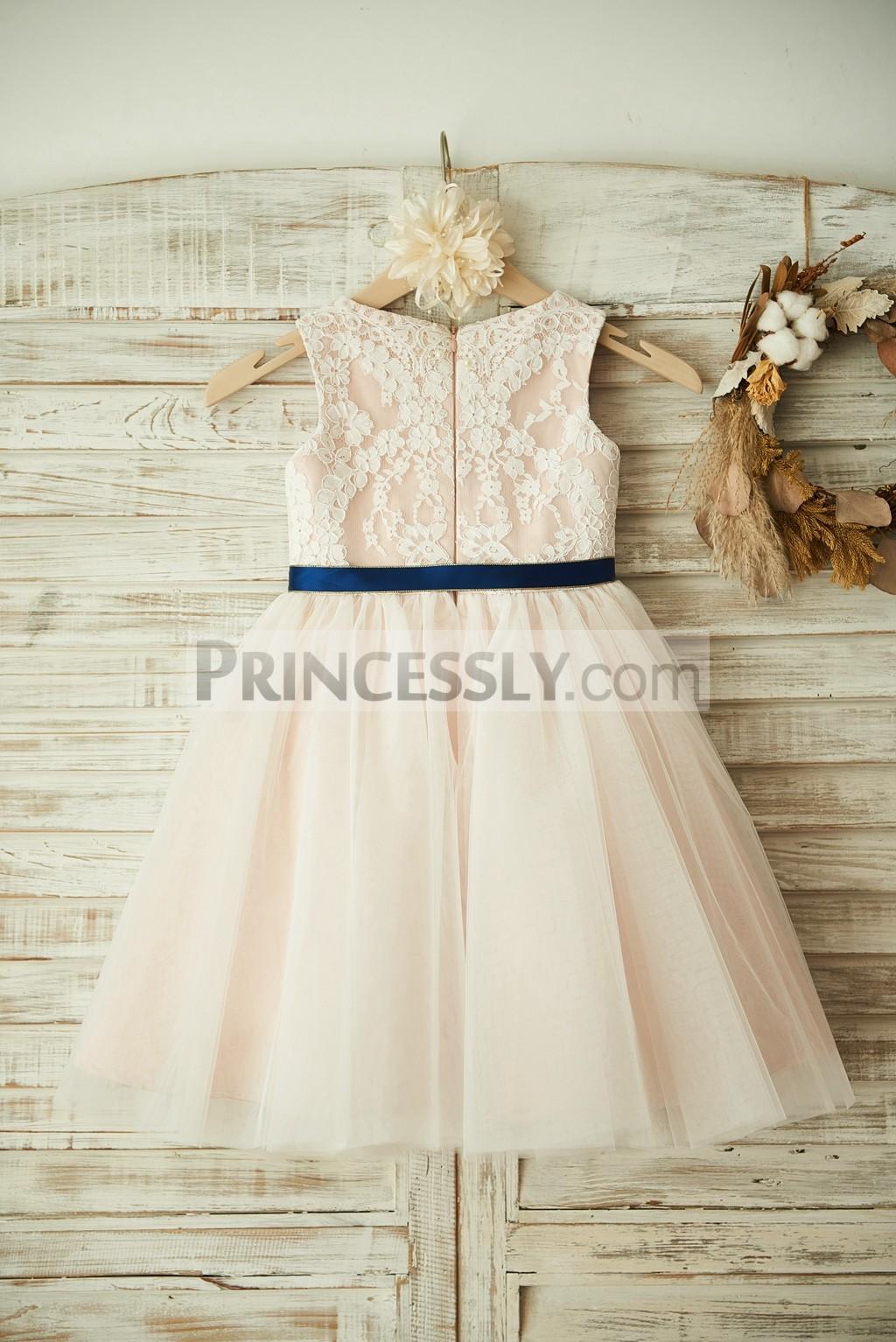 Hidden Zipper Back Lace Tulle Flower Girl Dress