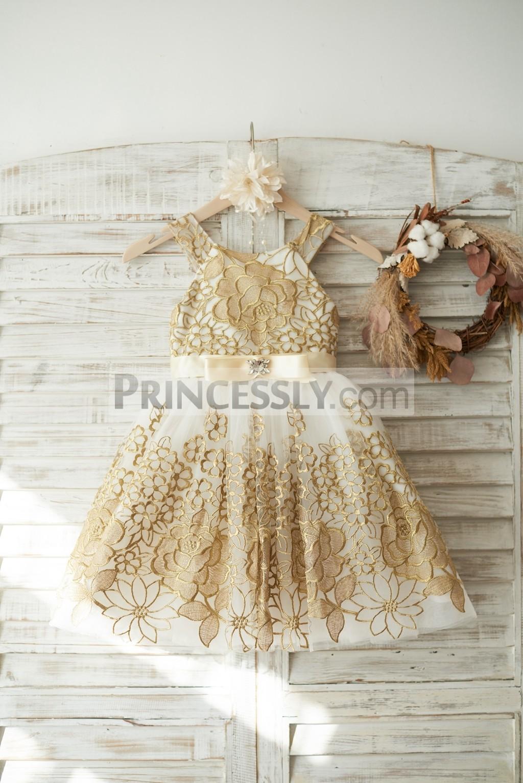 Gold Lace Ivory Tulle Wedding Flower Girl Dress