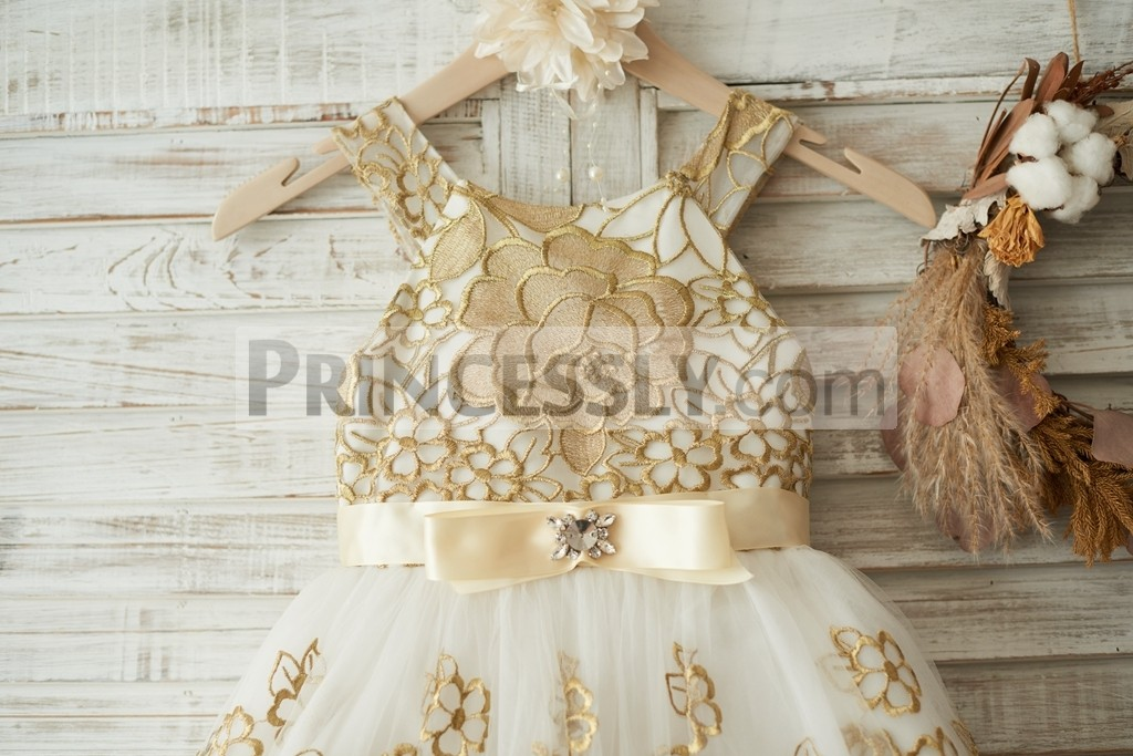 Gold Lace Covered Bodice with Beaded Bow Belt